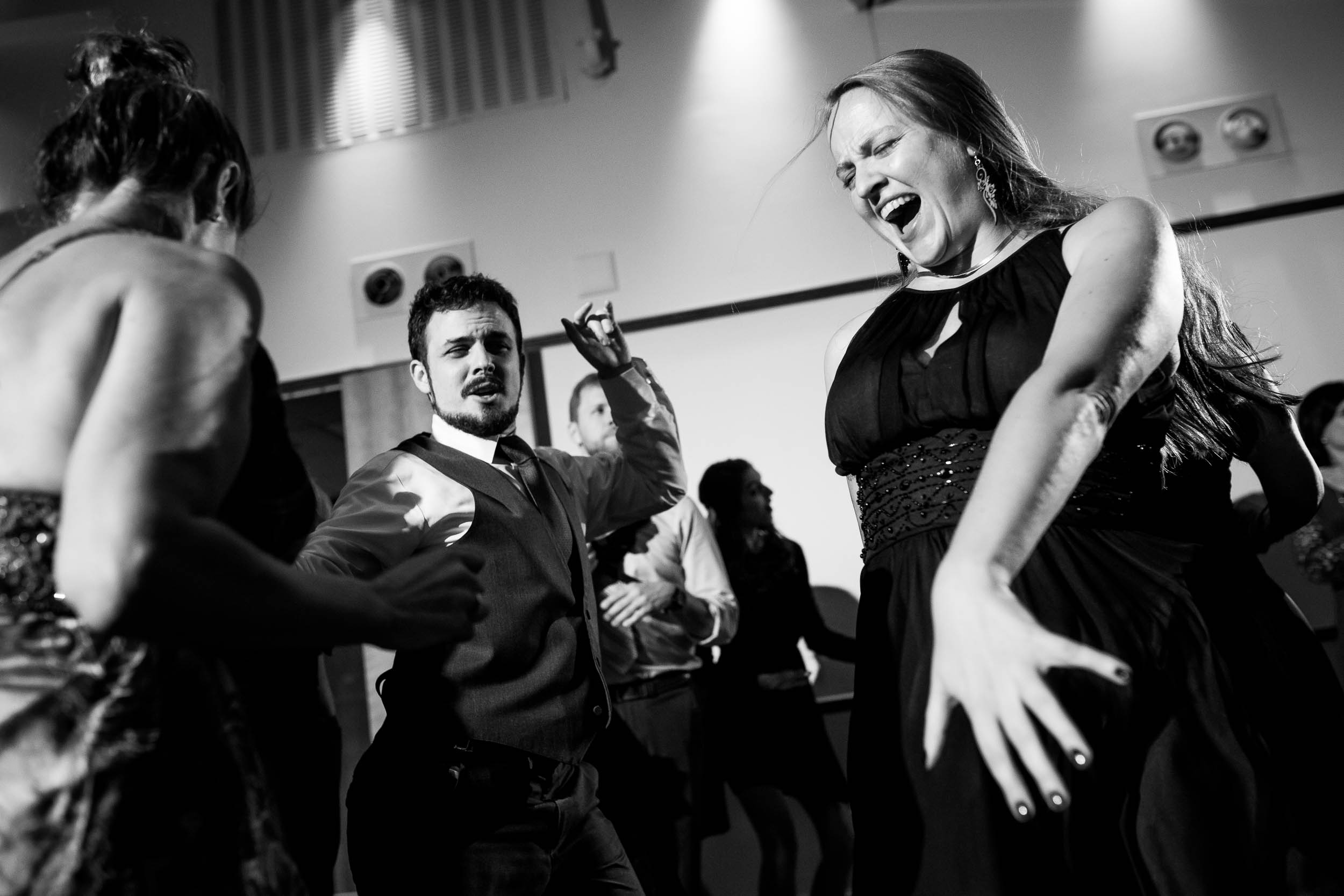 Fun dance floor moment during an Independence Grove Chicago wedding.