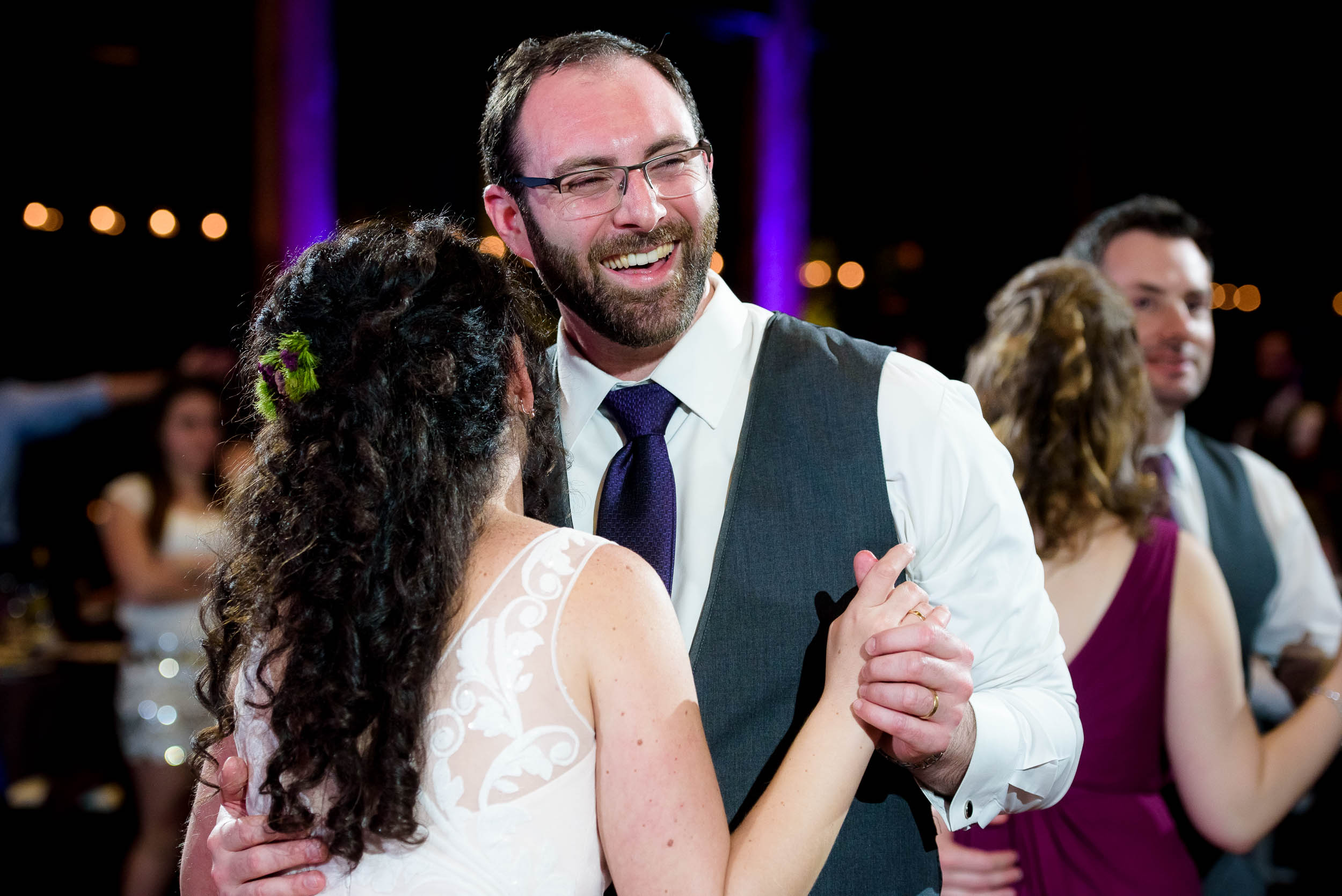 First dance moment during an Independence Grove Chicago wedding.