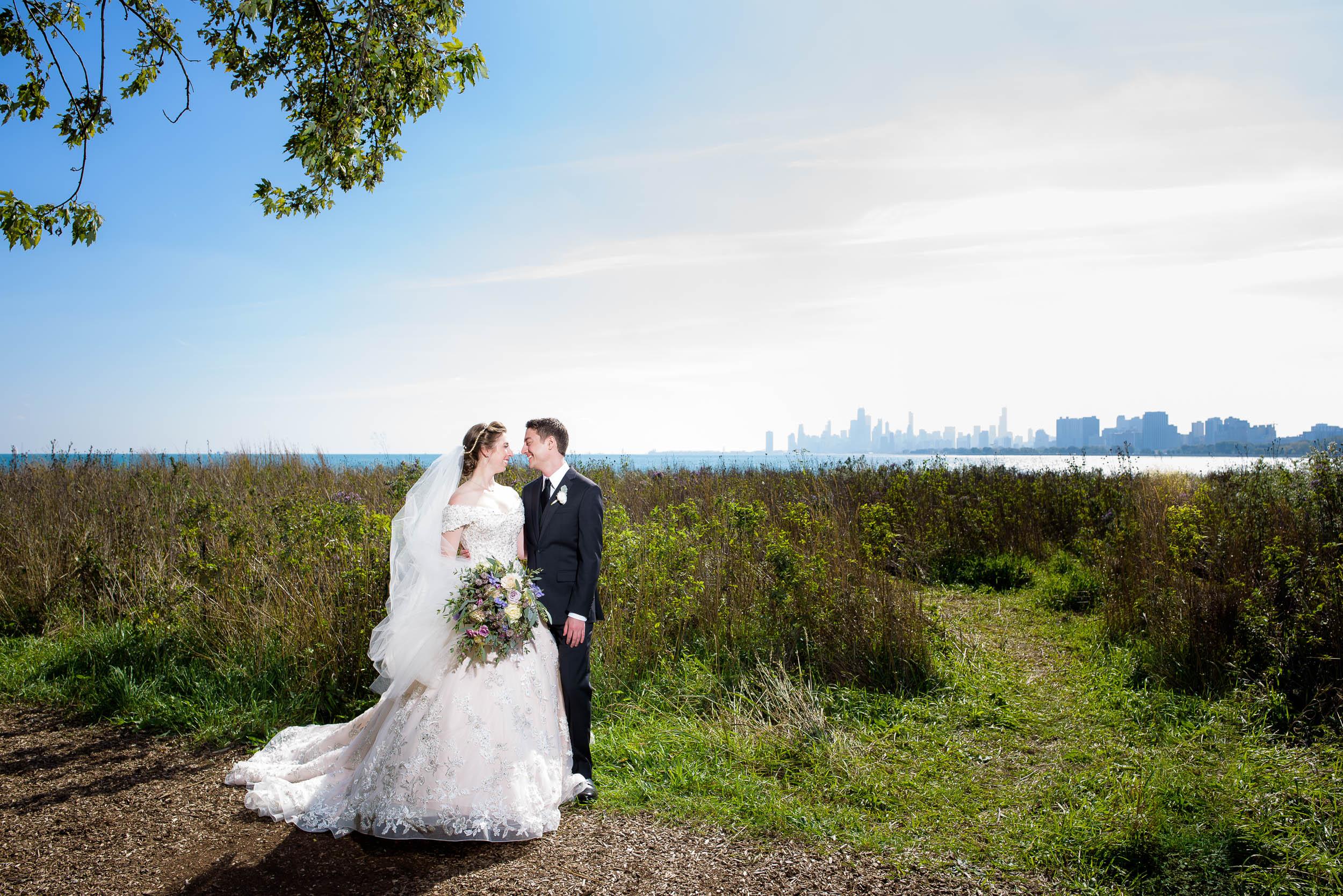 Wedding day portrait at Montrose Harbor Chicago.