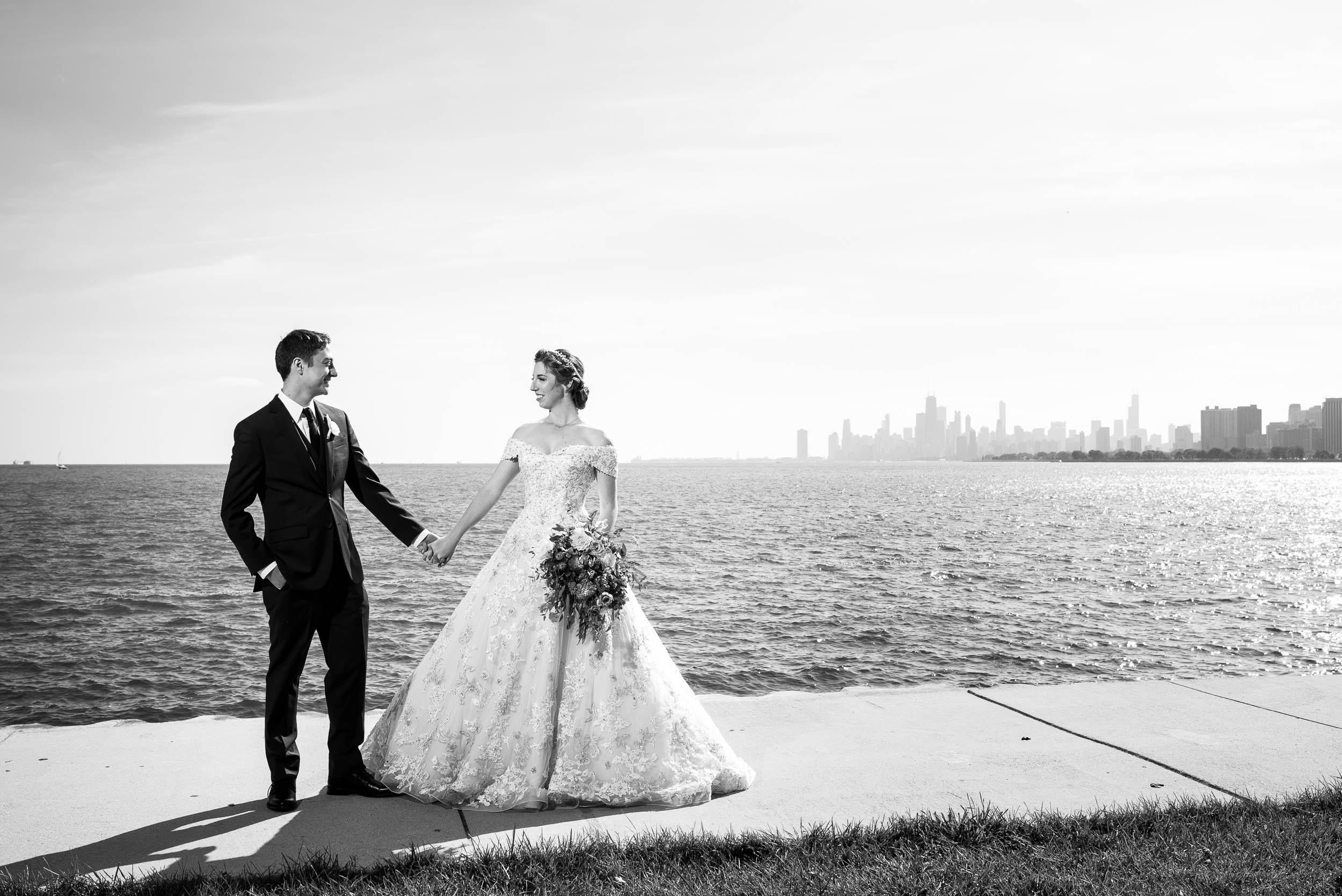 Bride and groom portrait at Montrose Harbor Chicago.
