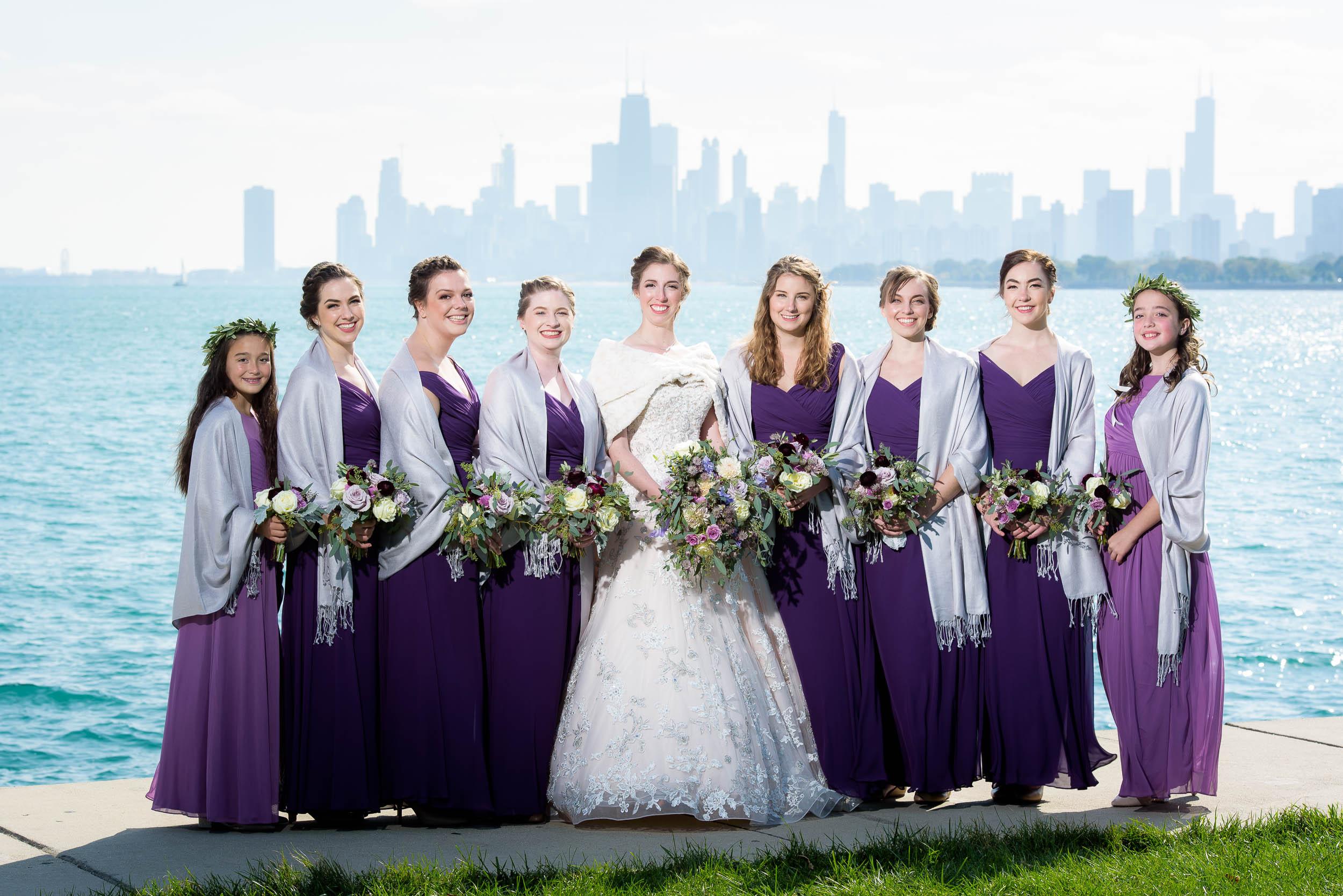 Bridesmaids portrait at Montrose Harbor Chicago.