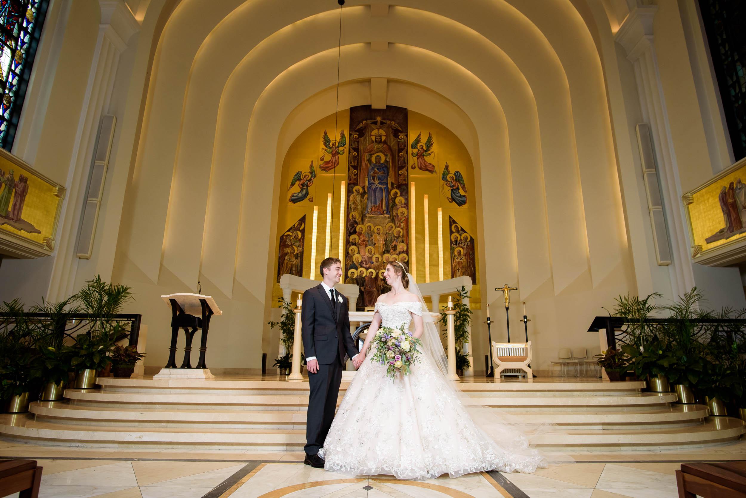 Portrait of the couple during a wedding ceremony at Madonna Della Strada.