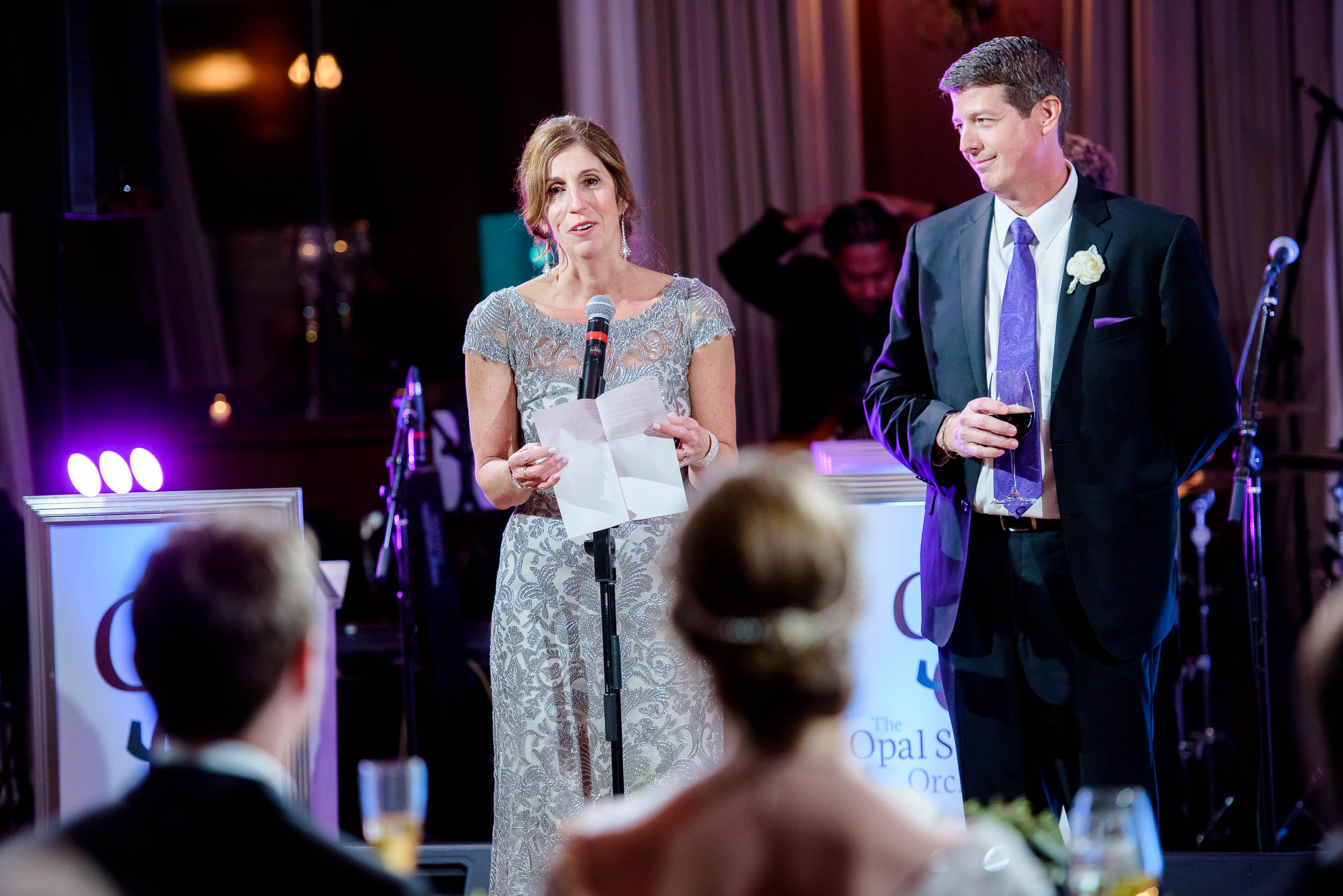 Parent toasts during a Newberry Library Chicago wedding.