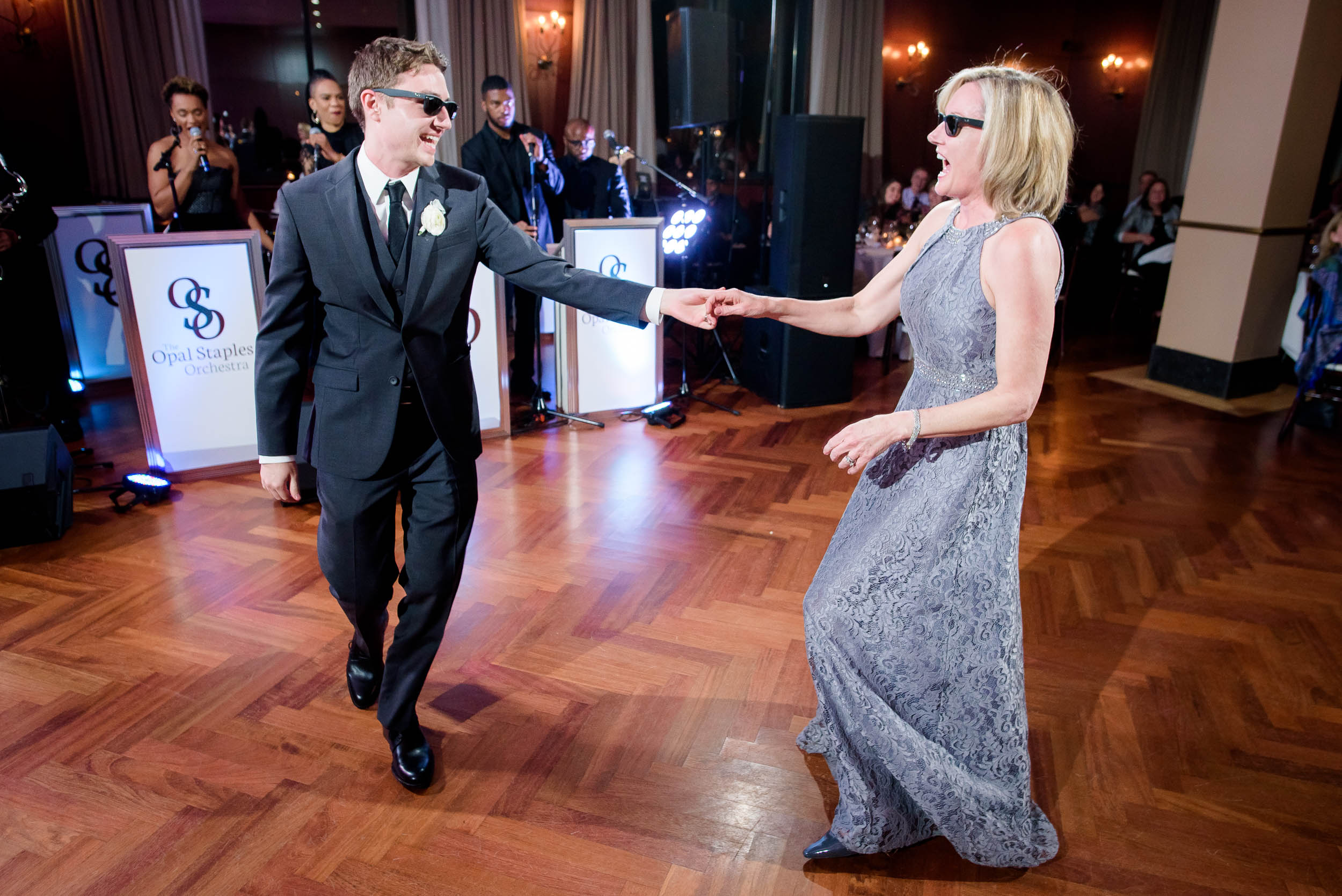 Mother son dance during a Newberry Library Chicago wedding.