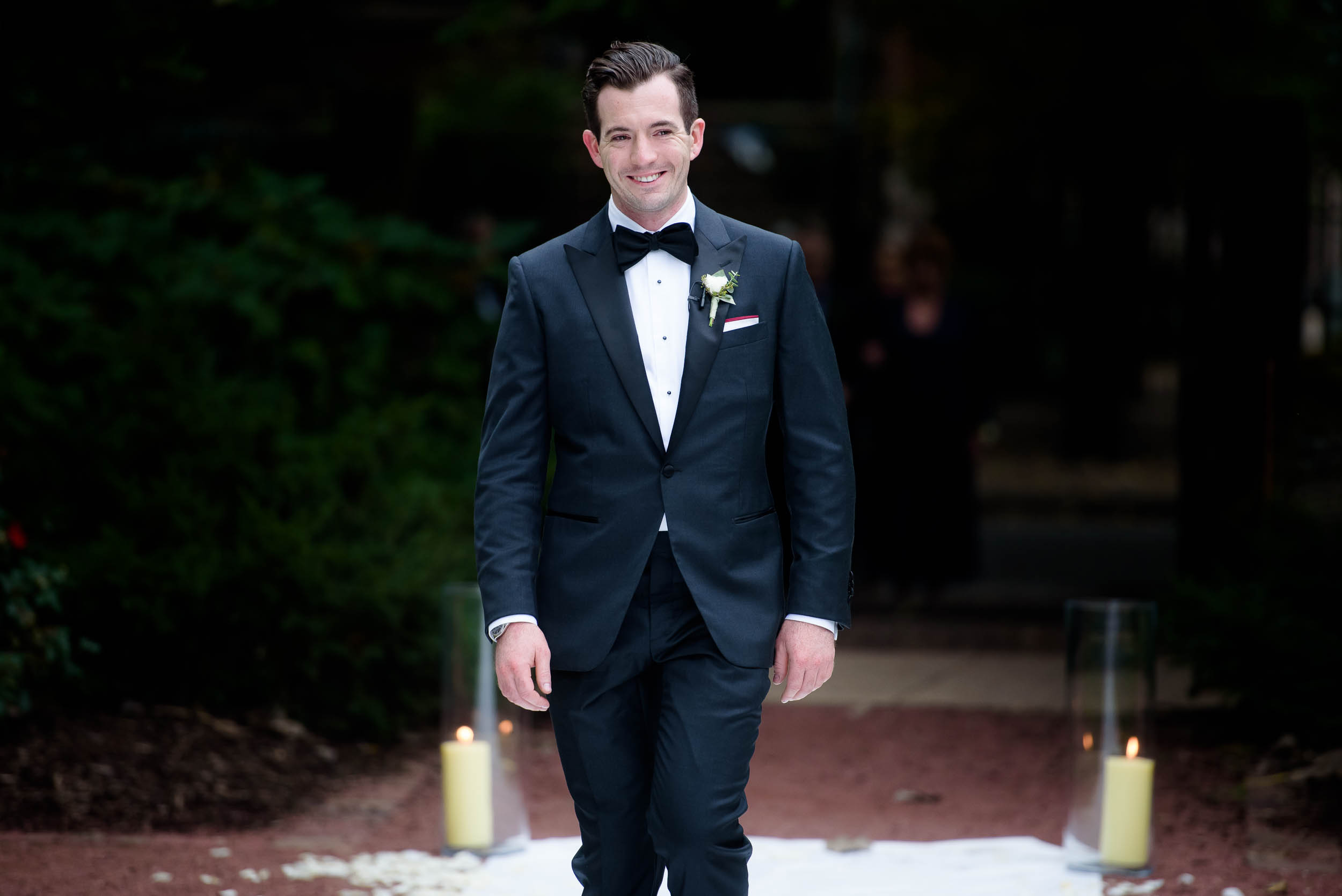 Groom walks down the aisle during a Glessner House Chicago wedding.