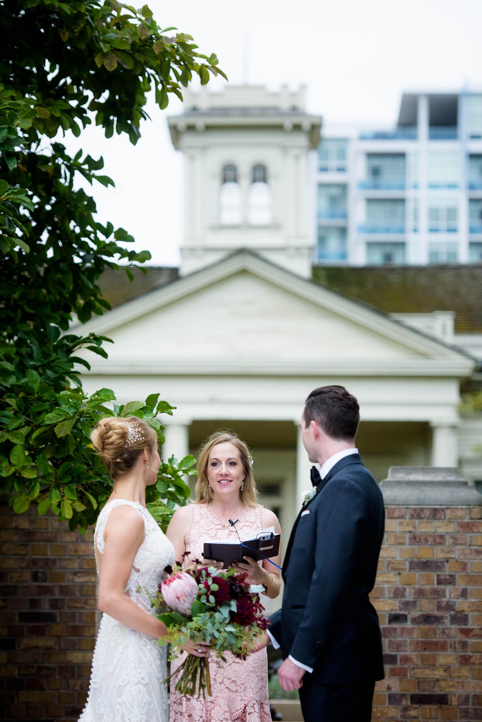 Chicago Women's Park fall wedding ceremony.