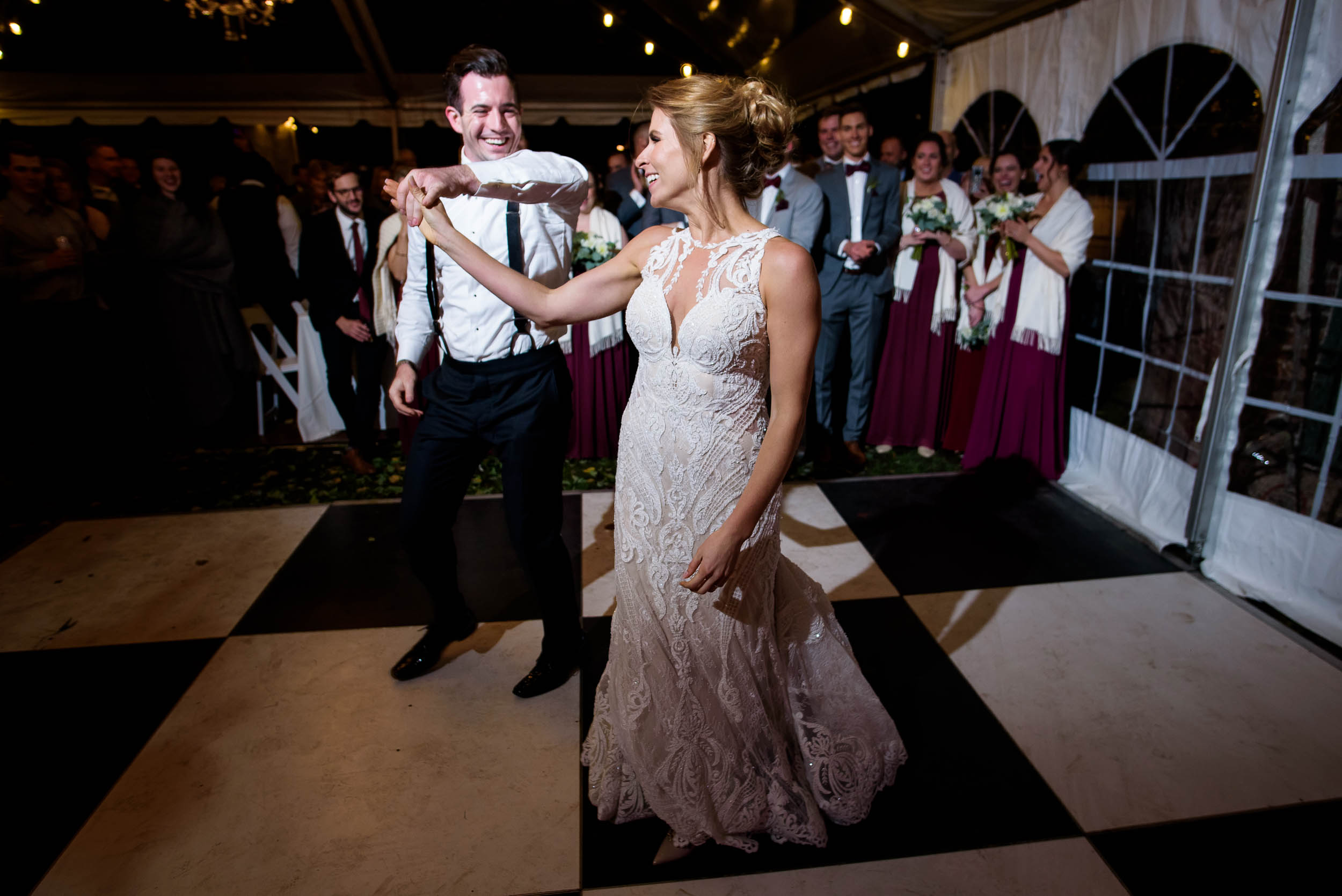 Bride and groom first dance during a Glessner House Chicago wedding.