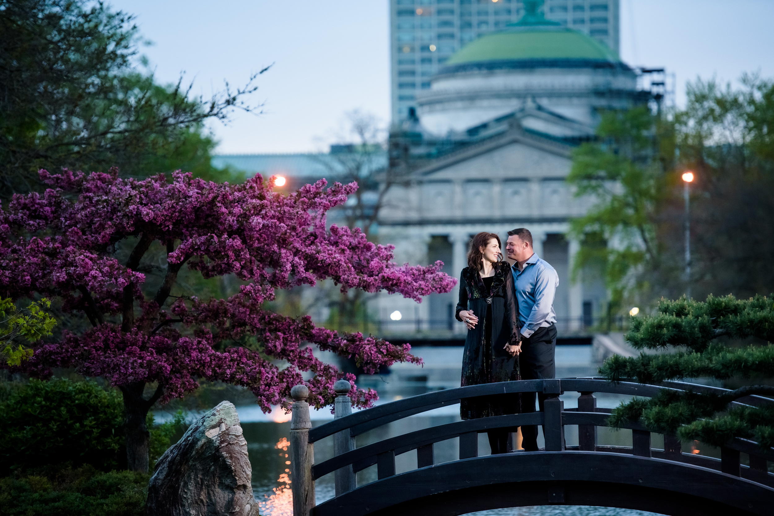 Wish Upon a Wedding couple Love Story Rachel & Alvie, Garden of the Phoenix Chicago Illinois.