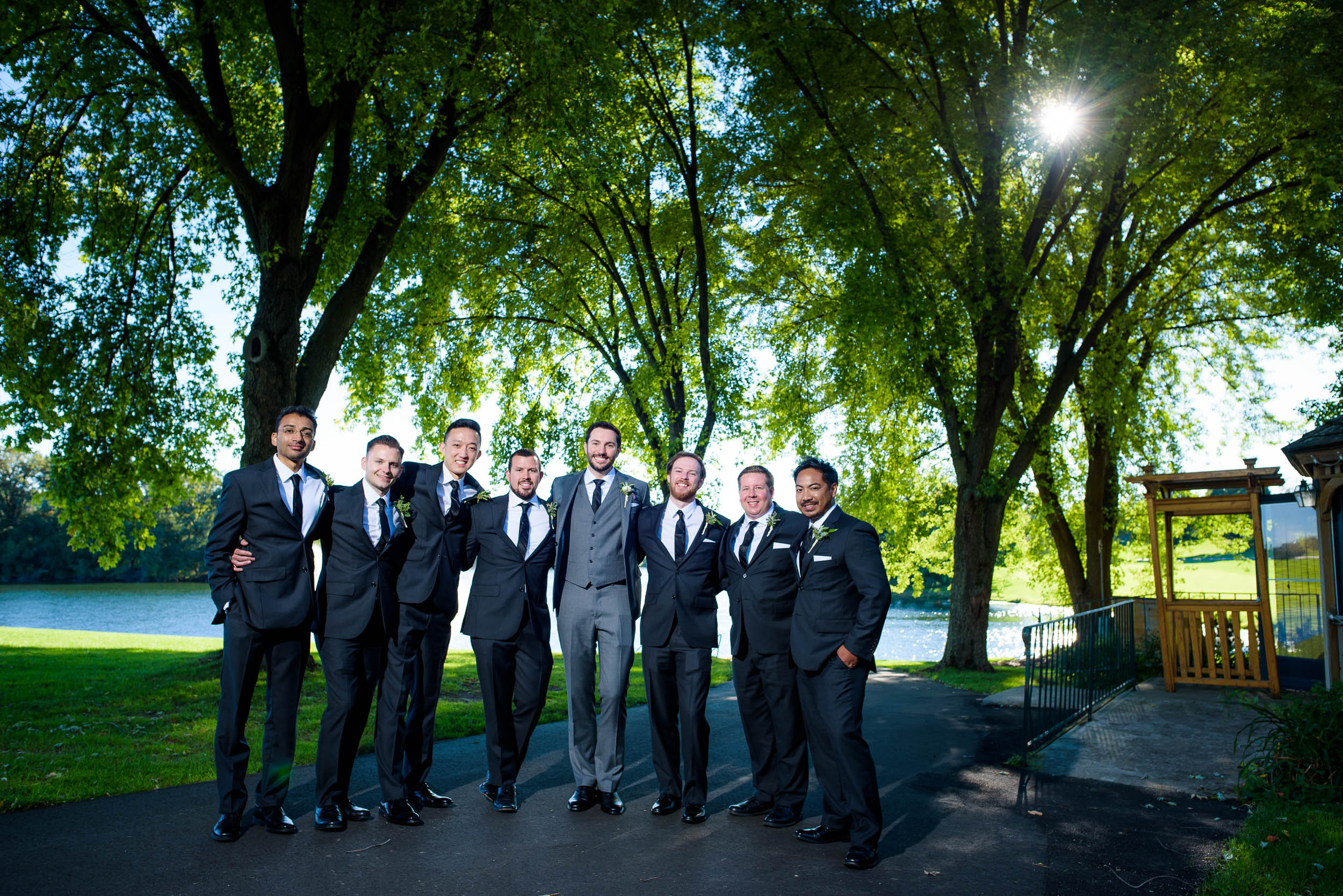 Groomsmen poses for photos at Grand Geneve Resort Fall Chicago Wedding captured by J. Brown Photography. Visit jbrownphotography.com for more wedding inspiration!