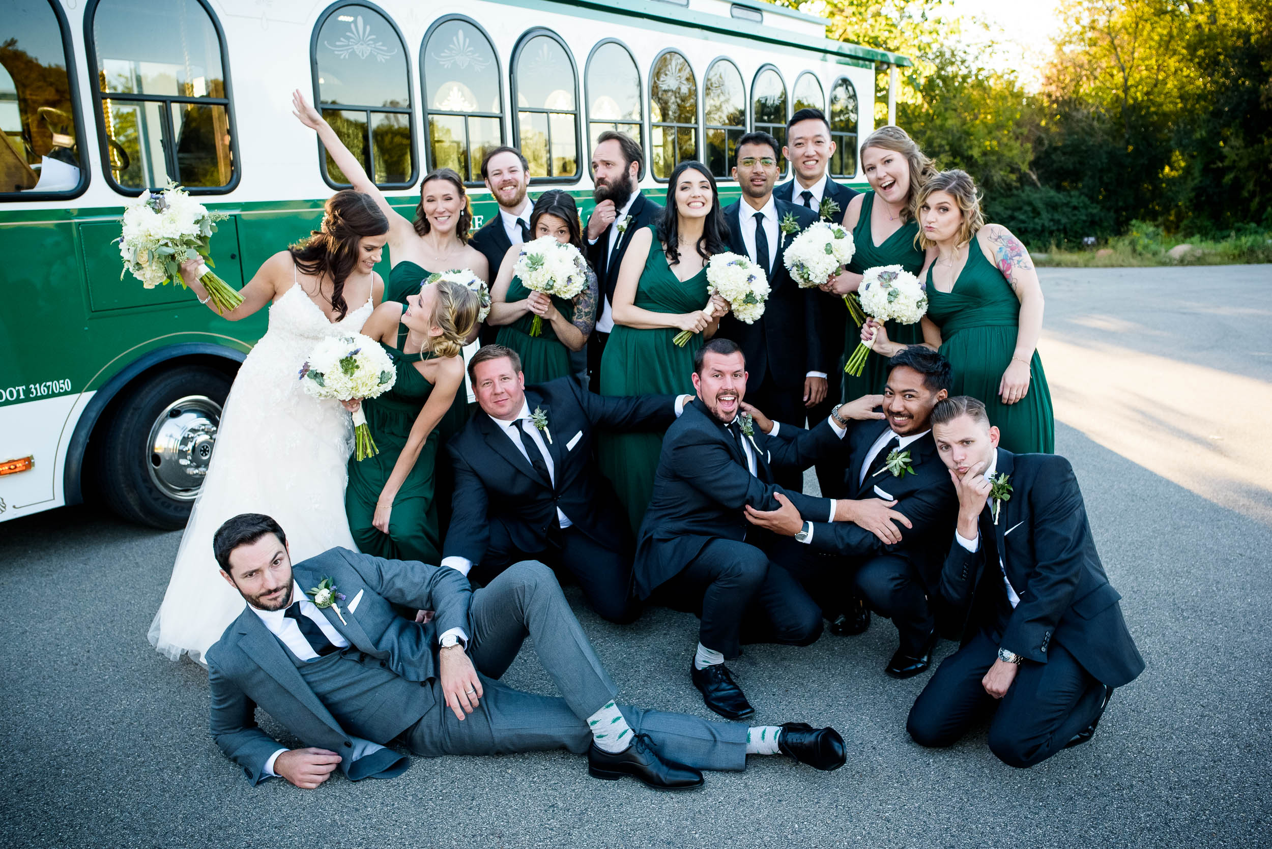 Fun wedding party photos at Grand Geneve Resort Fall Chicago Wedding captured by J. Brown Photography. Visit jbrownphotography.com for more wedding inspiration!