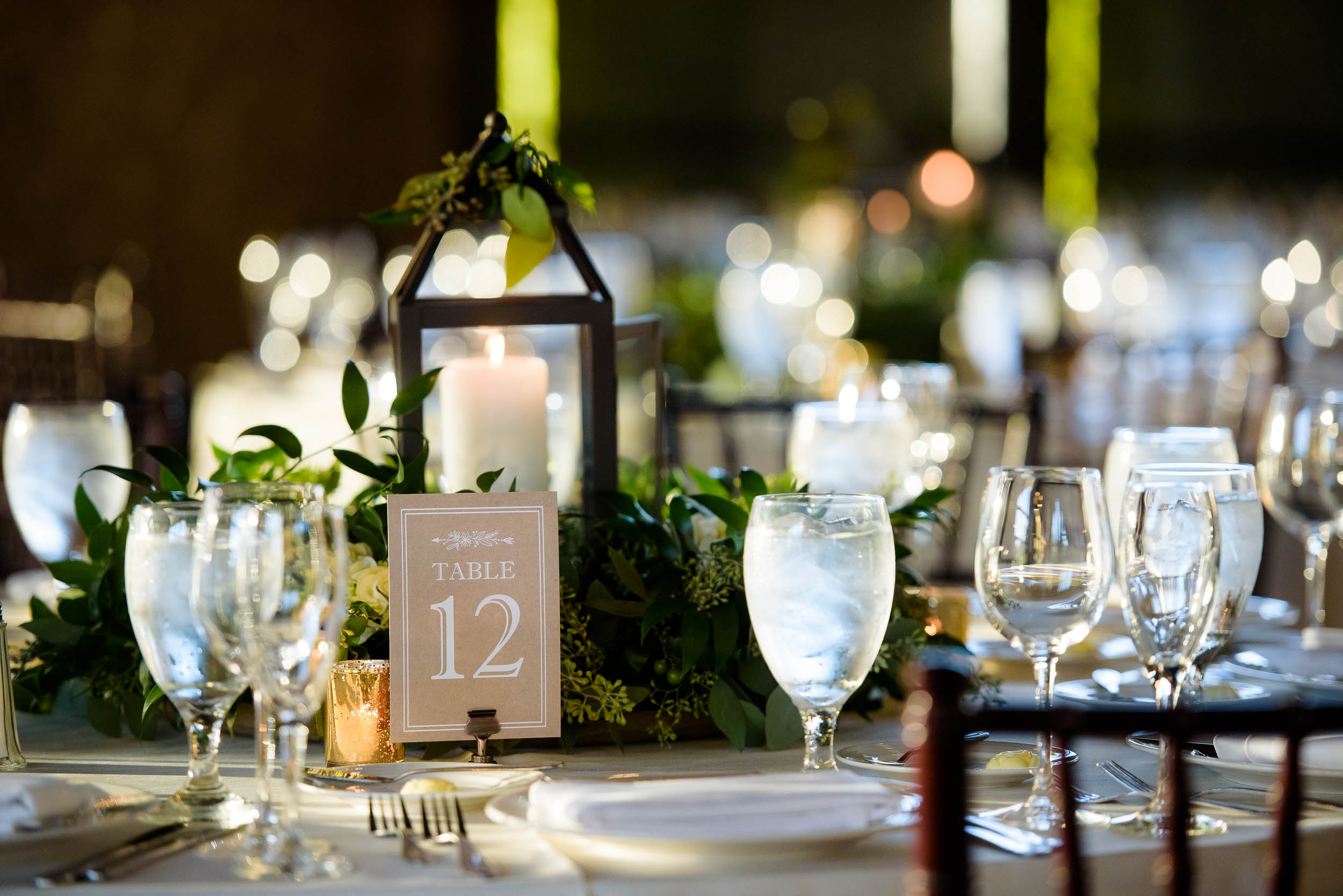 Wedding centerpieces and table decor for Grand Geneve Resort Fall Chicago Wedding captured by J. Brown Photography. Visit jbrownphotography.com for more wedding inspiration!