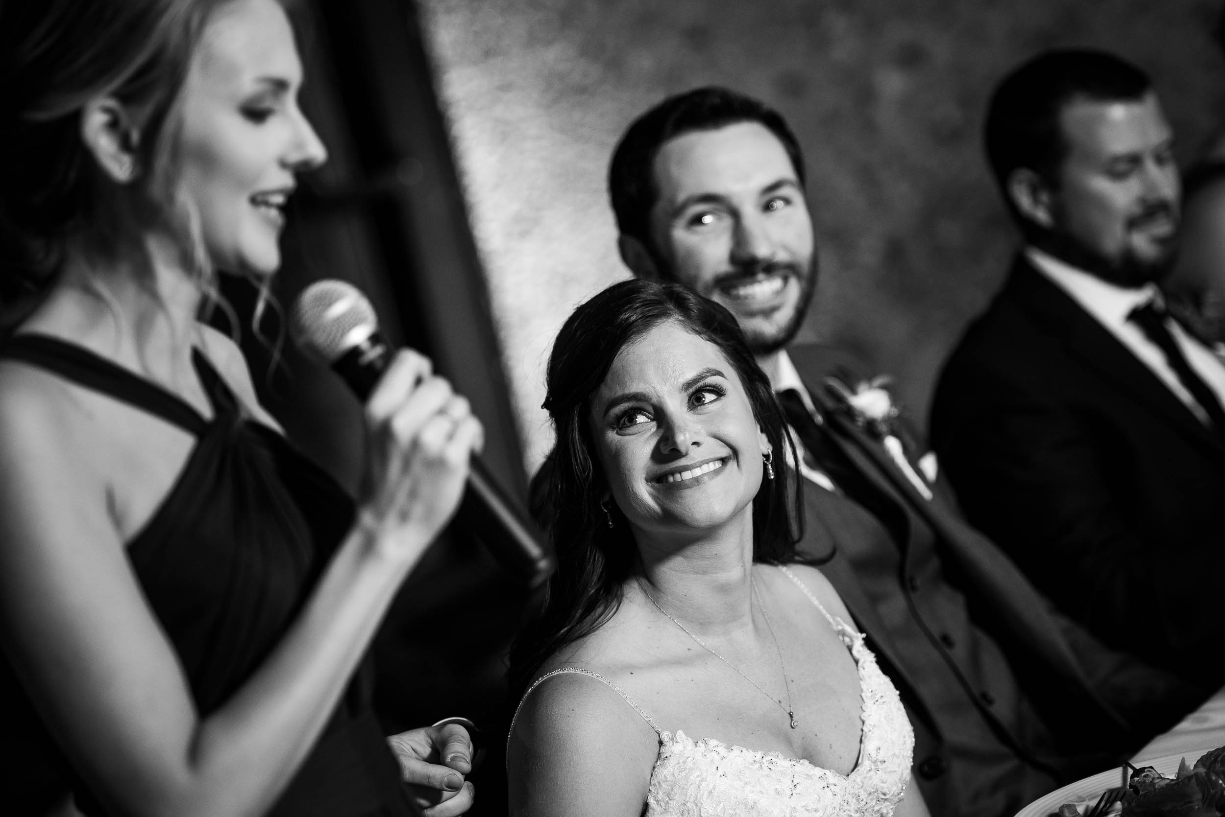 Maid of honor giving speech for Grand Geneve Resort Fall Chicago Wedding captured by J. Brown Photography. Visit jbrownphotography.com for more wedding inspiration!