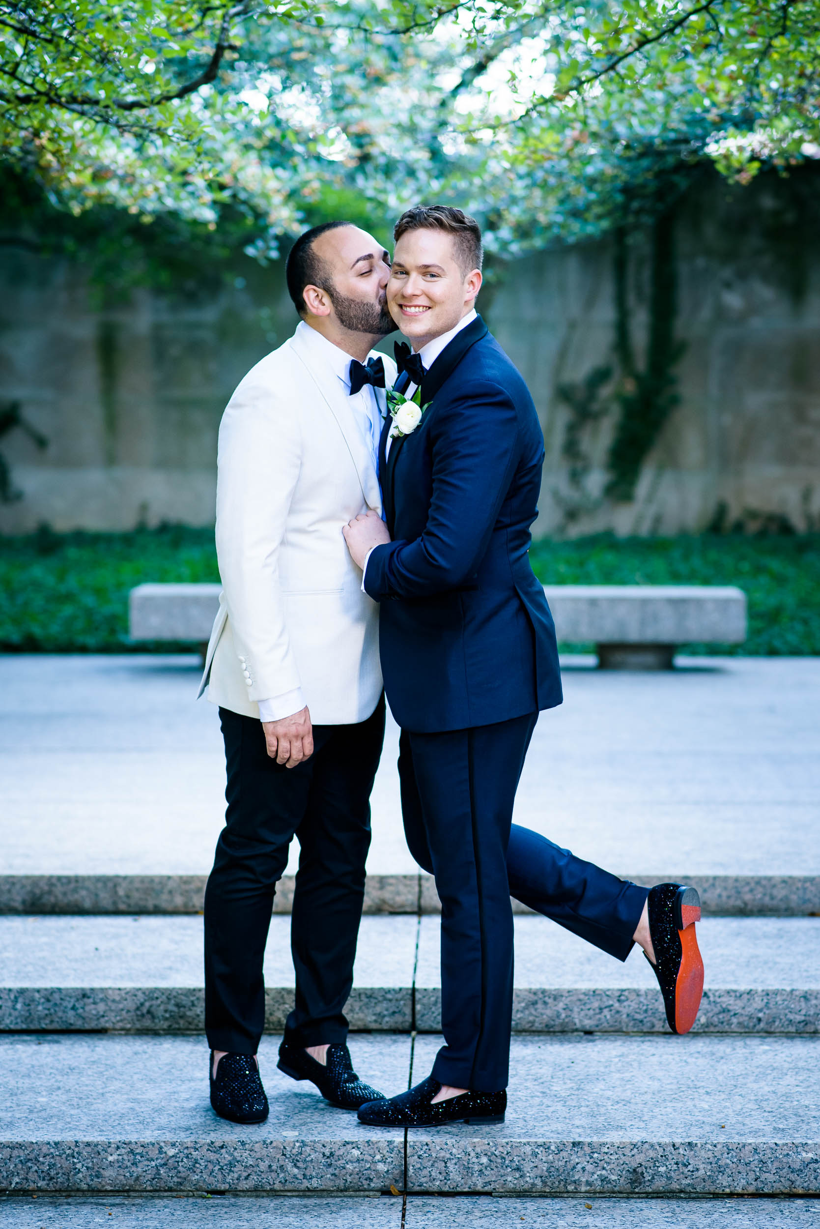 Outdoor wedding photos for same-sex, luxurious fall wedding at the Chicago Symphony Center captured by J. Brown Photography. See more wedding ideas at jbrownphotography.com!