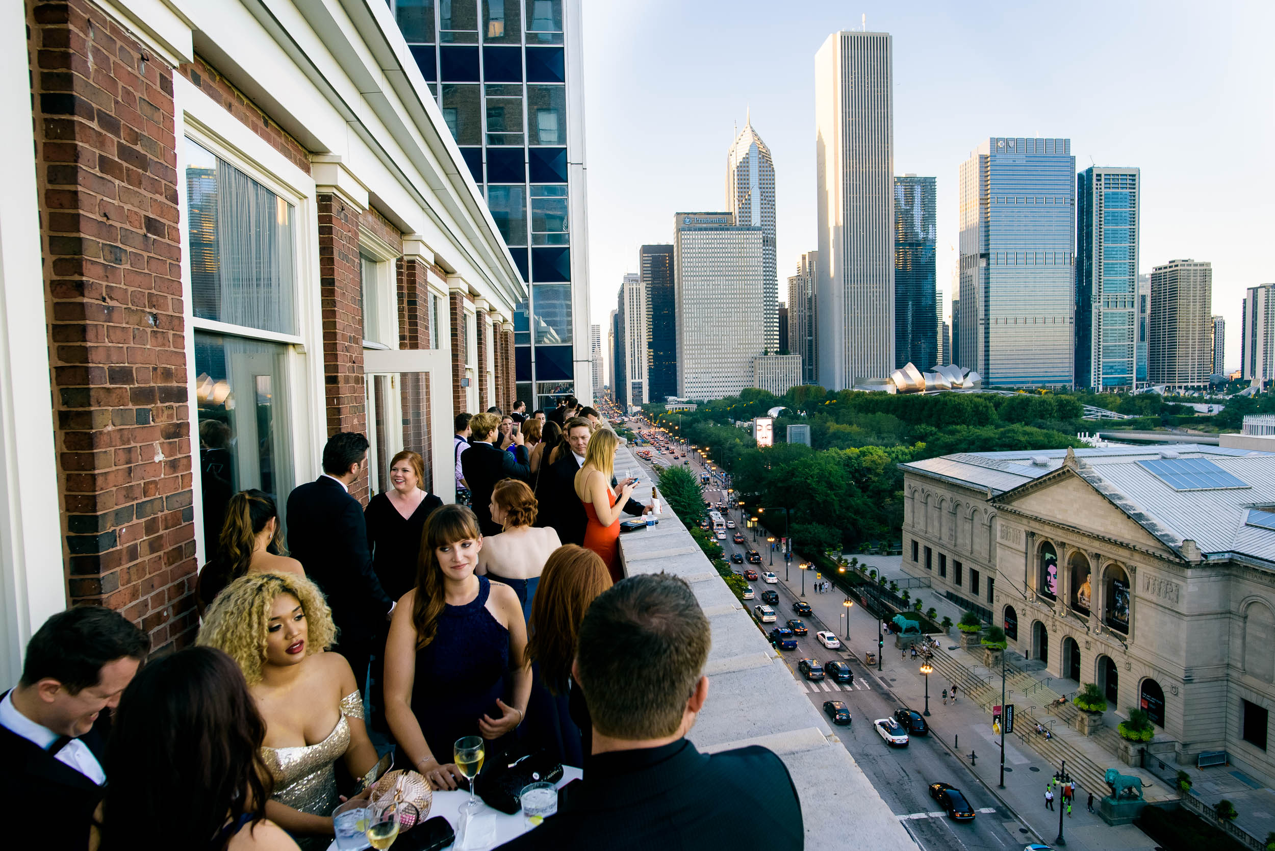 Chicago city skyline at luxurious fall wedding at the Chicago Symphony Center captured by J. Brown Photography. See more wedding ideas at jbrownphotography.com!