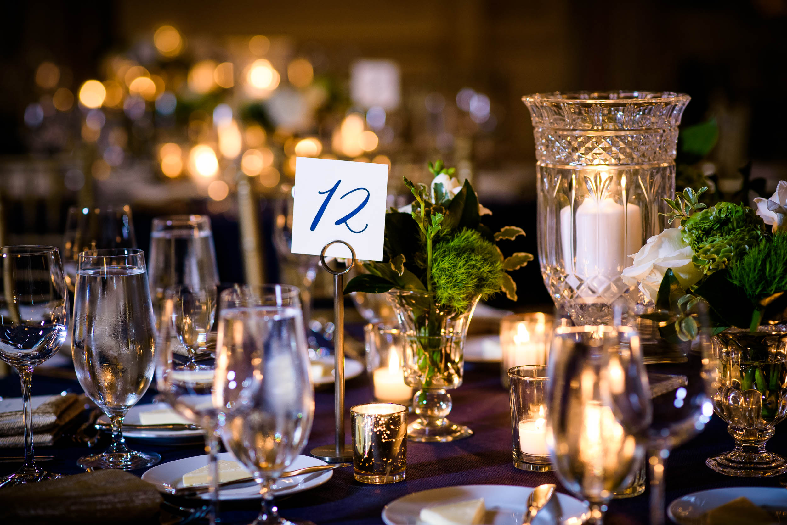 Wedding table decor for luxurious fall wedding at the Chicago Symphony Center captured by J. Brown Photography. See more wedding ideas at jbrownphotography.com!