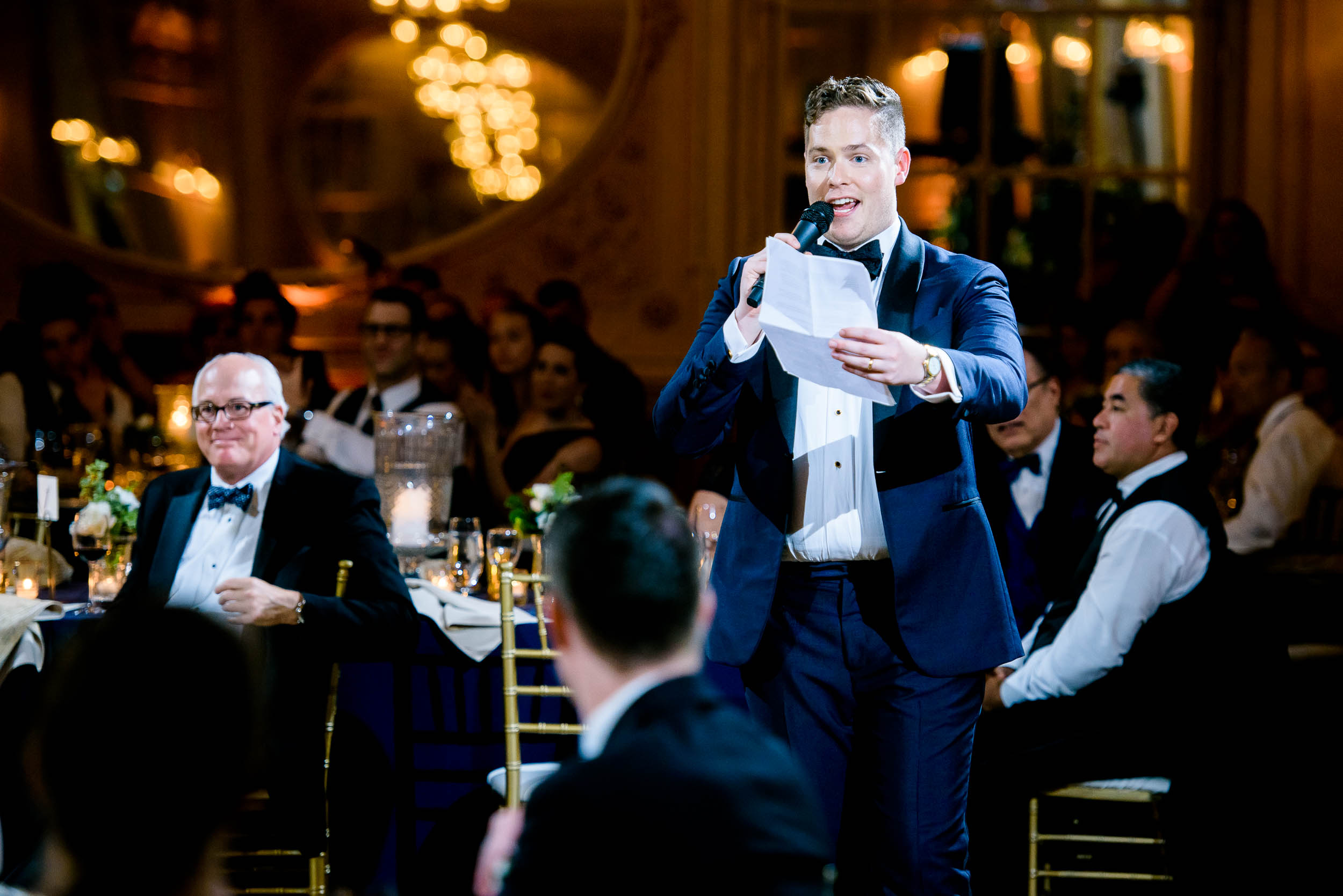 Groom giving speech at luxurious fall wedding at the Chicago Symphony Center captured by J. Brown Photography. See more wedding ideas at jbrownphotography.com!