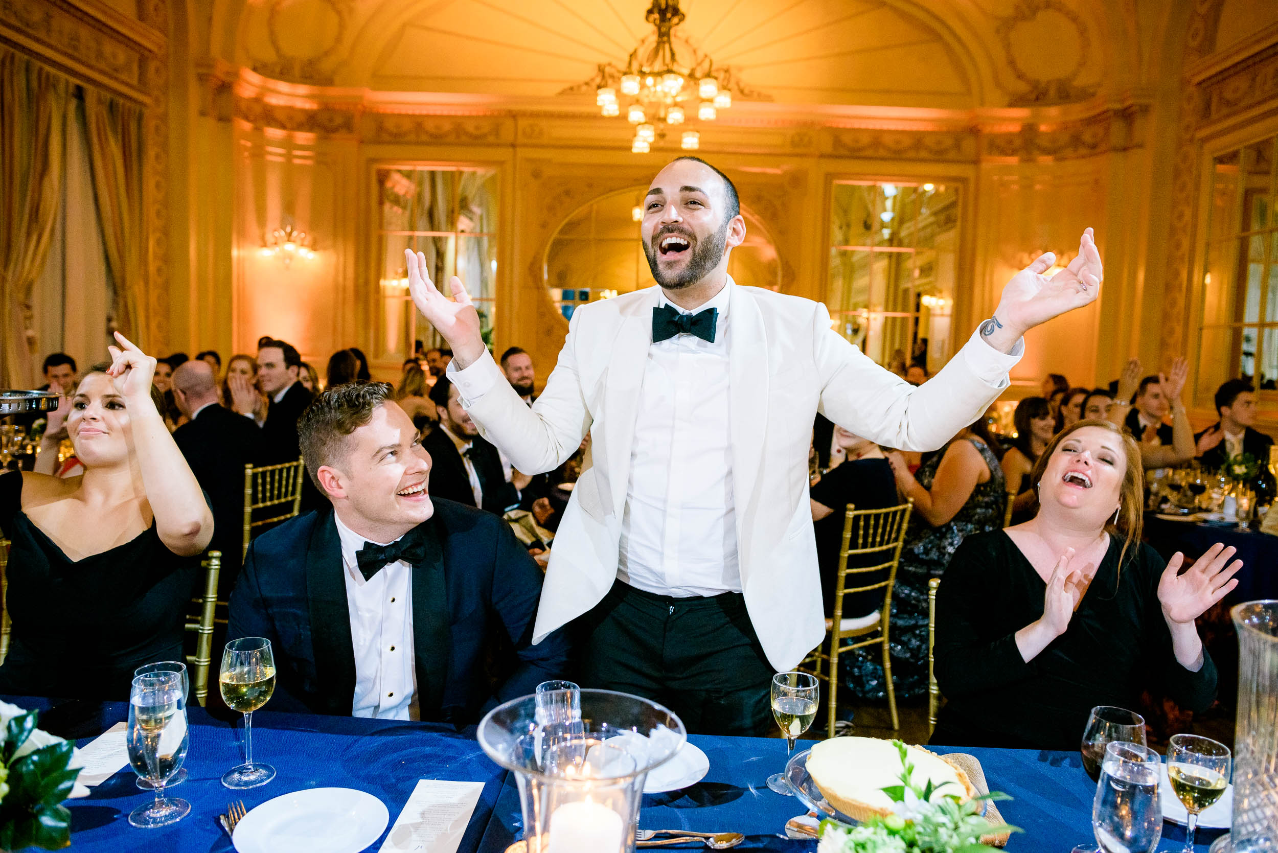 Fun wedding moments at luxurious fall wedding at the Chicago Symphony Center captured by J. Brown Photography. See more wedding ideas at jbrownphotography.com!