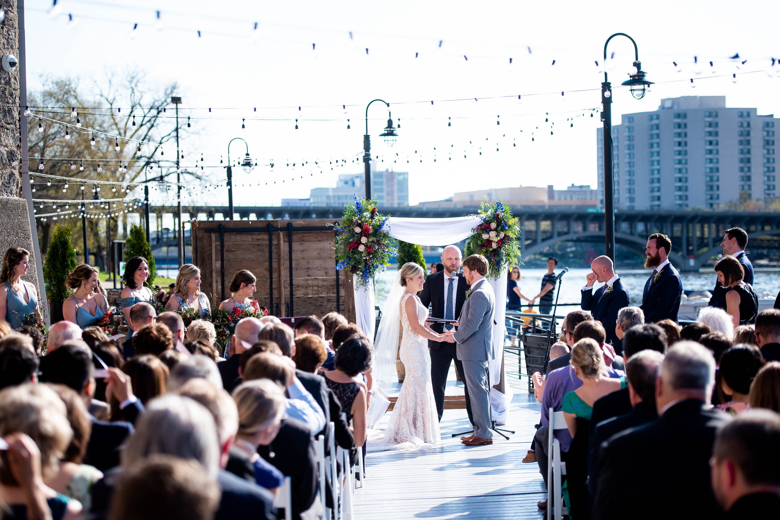 Wedding ceremony inspiration: Modern industrial Chicago wedding inside Prairie Street Brewhouse captured by J. Brown Photography. Find more wedding ideas at jbrownphotography.com!