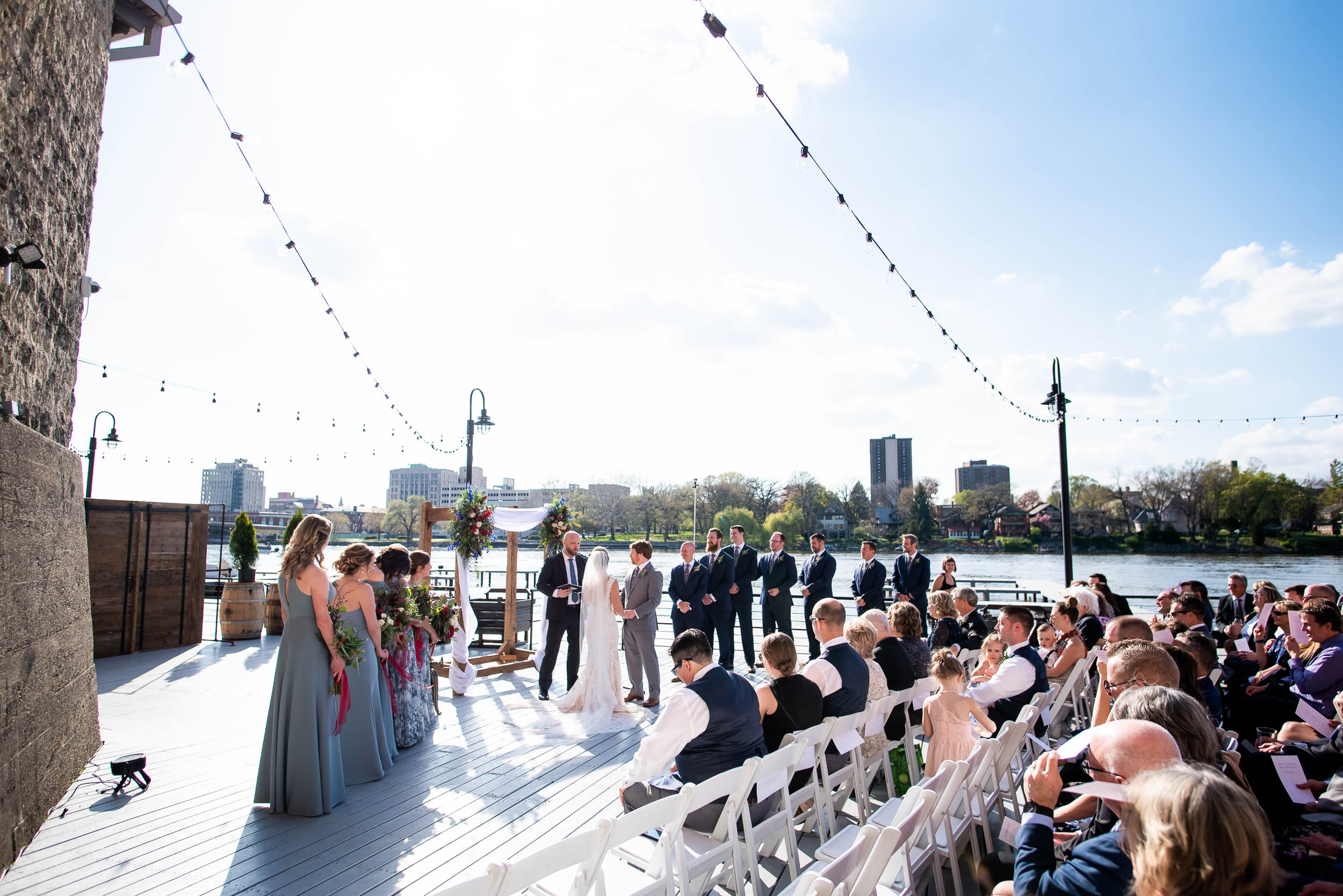 Outdoor wedding ceremony ideas: Modern industrial Chicago wedding inside Prairie Street Brewhouse captured by J. Brown Photography. Find more wedding ideas at jbrownphotography.com!