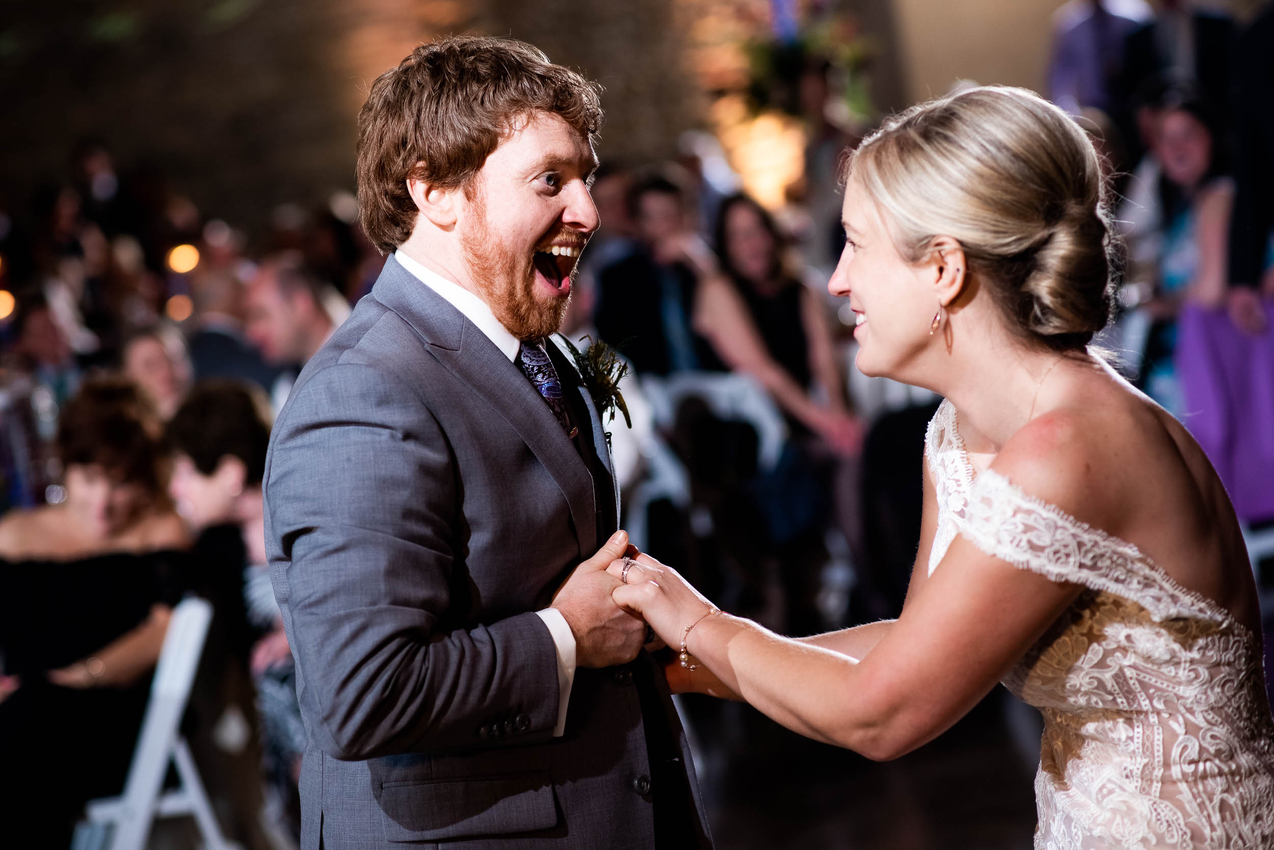 Fun wedding photos: Modern industrial Chicago wedding inside Prairie Street Brewhouse captured by J. Brown Photography. Find more wedding ideas at jbrownphotography.com!