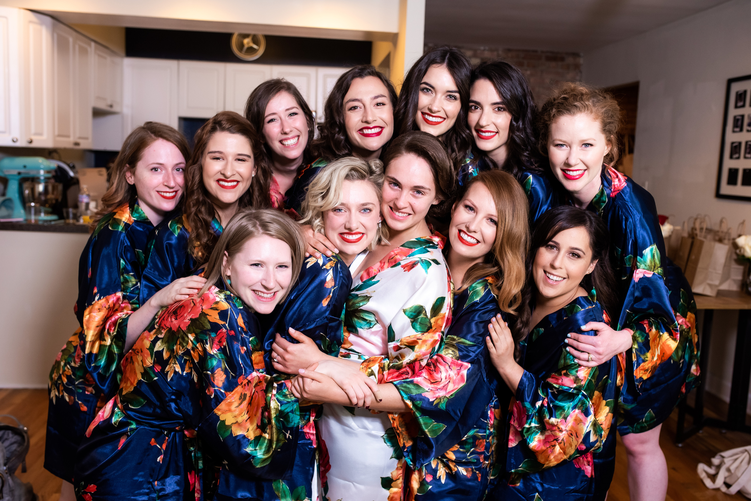 Bridal party group photo for Carnivale Chicago wedding captured by J Brown Photography