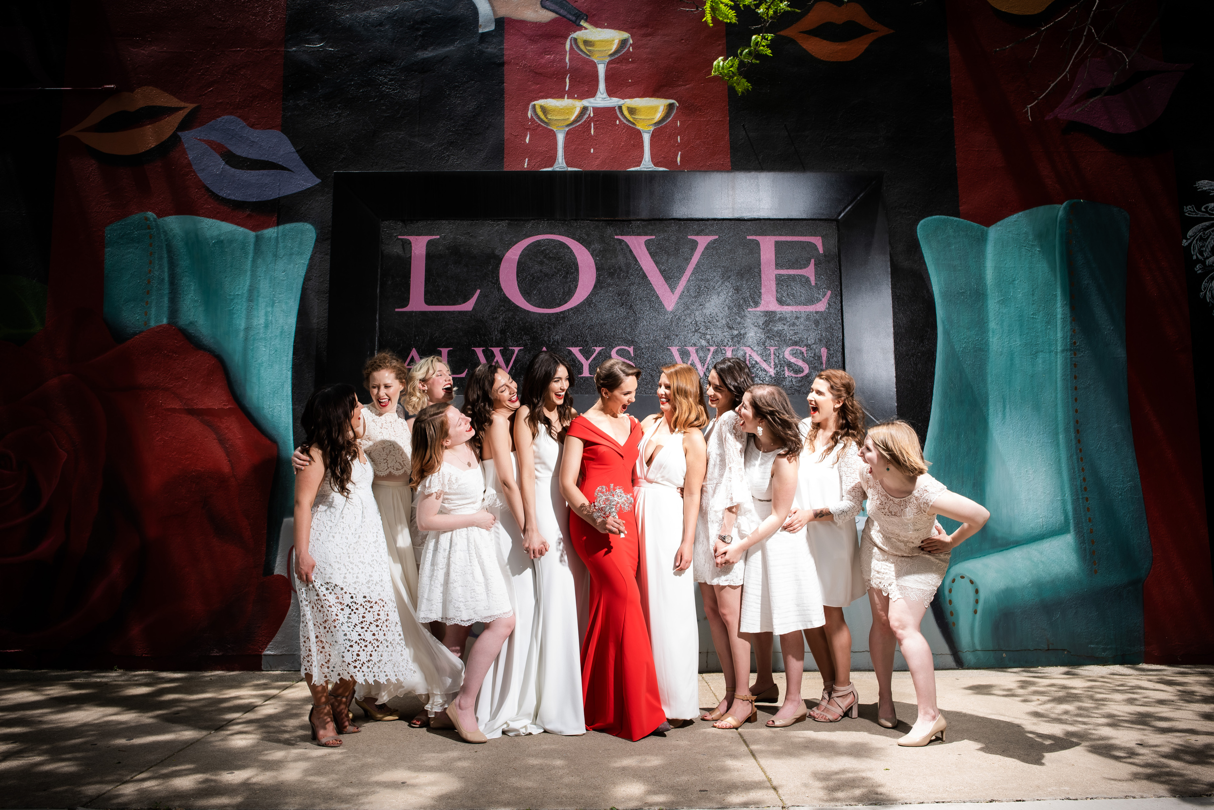 White bridesmaid dresses for Carnivale Chicago wedding captured by J Brown Photography