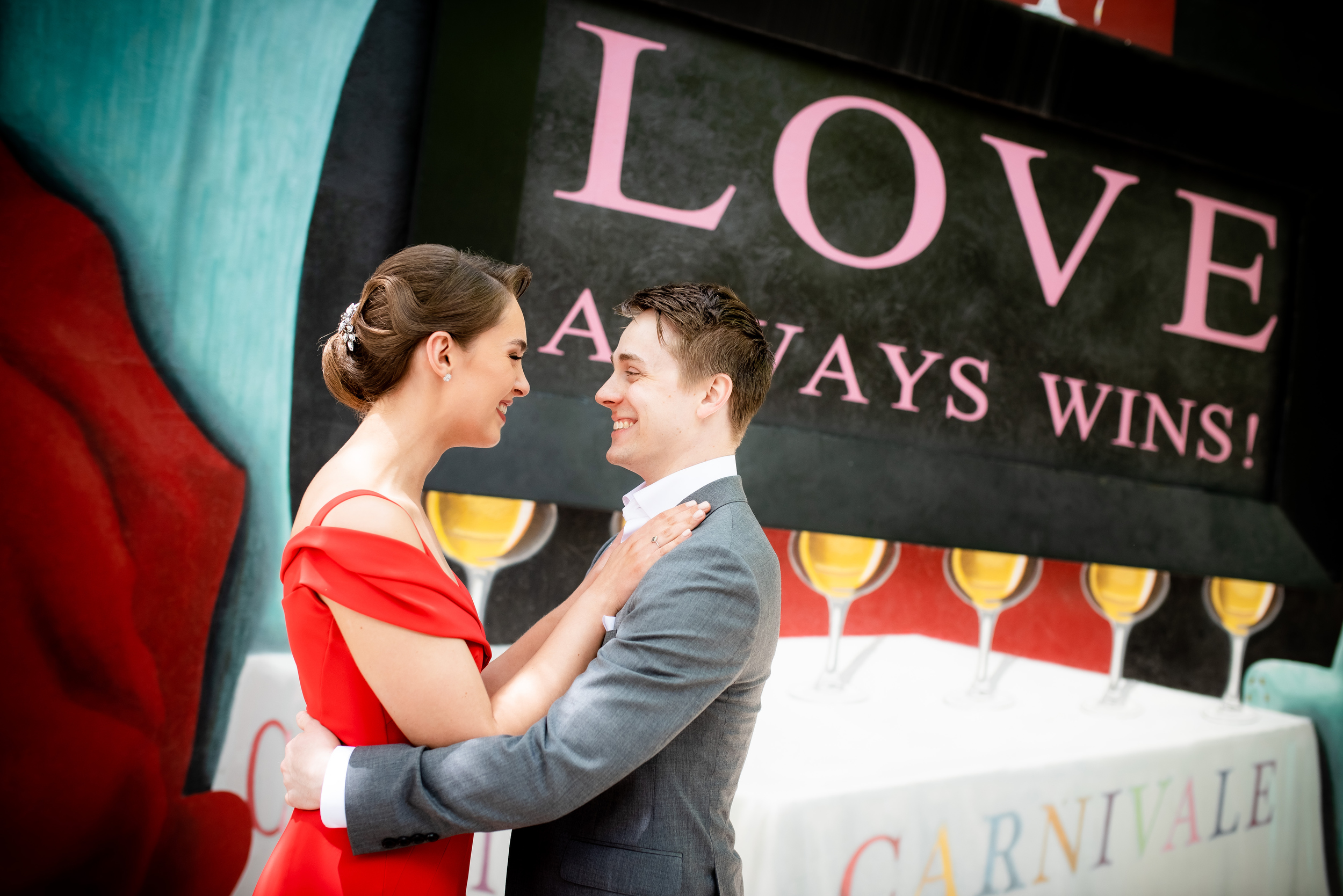Colorful wedding portrait: Carnivale Chicago wedding captured by J Brown Photography