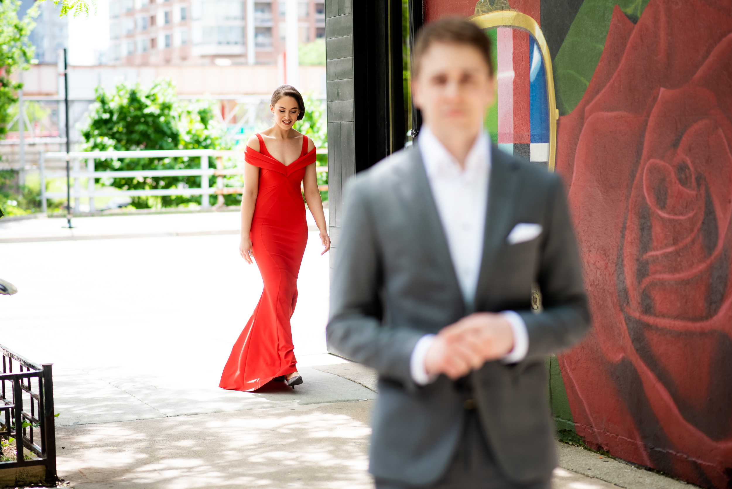 Wedding first look: Carnivale Chicago wedding captured by J Brown Photography