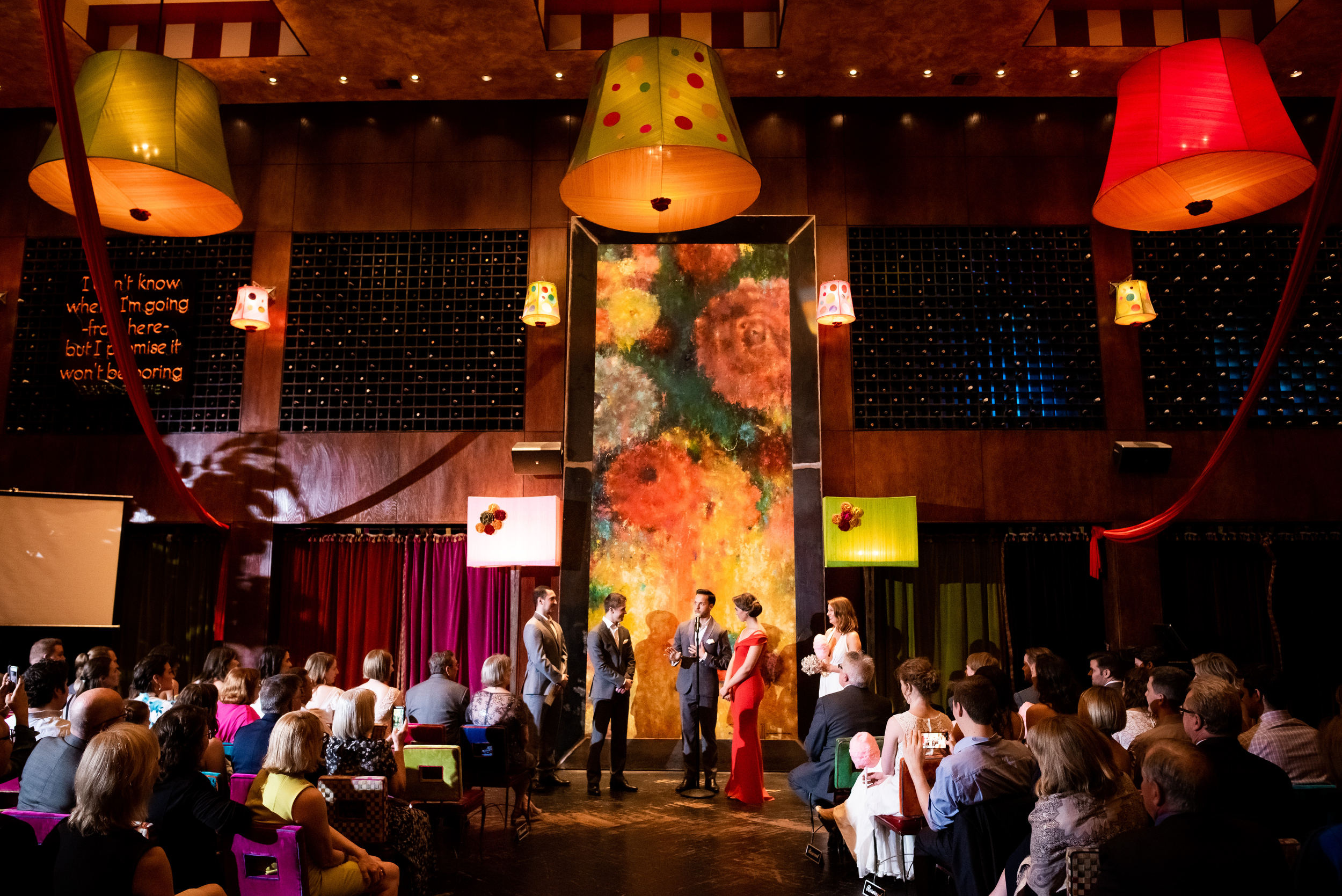 Colorful wedding ceremony ideas: Carnivale Chicago wedding captured by J Brown Photography