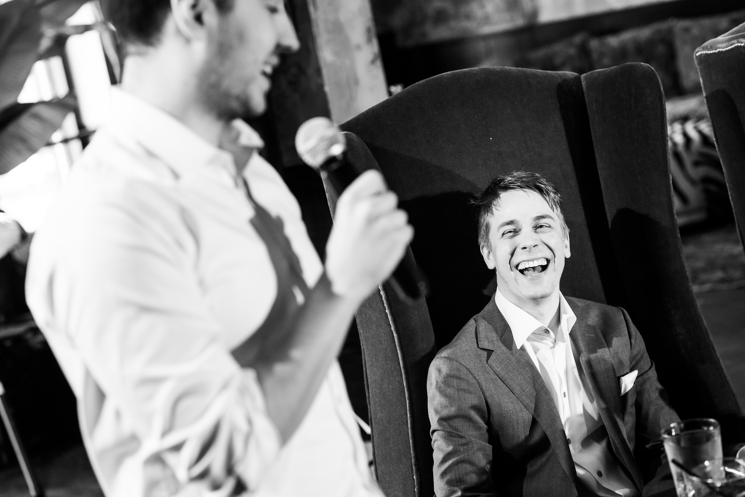 Best man giving his wedding speech at Carnivale Chicago wedding captured by J Brown Photography