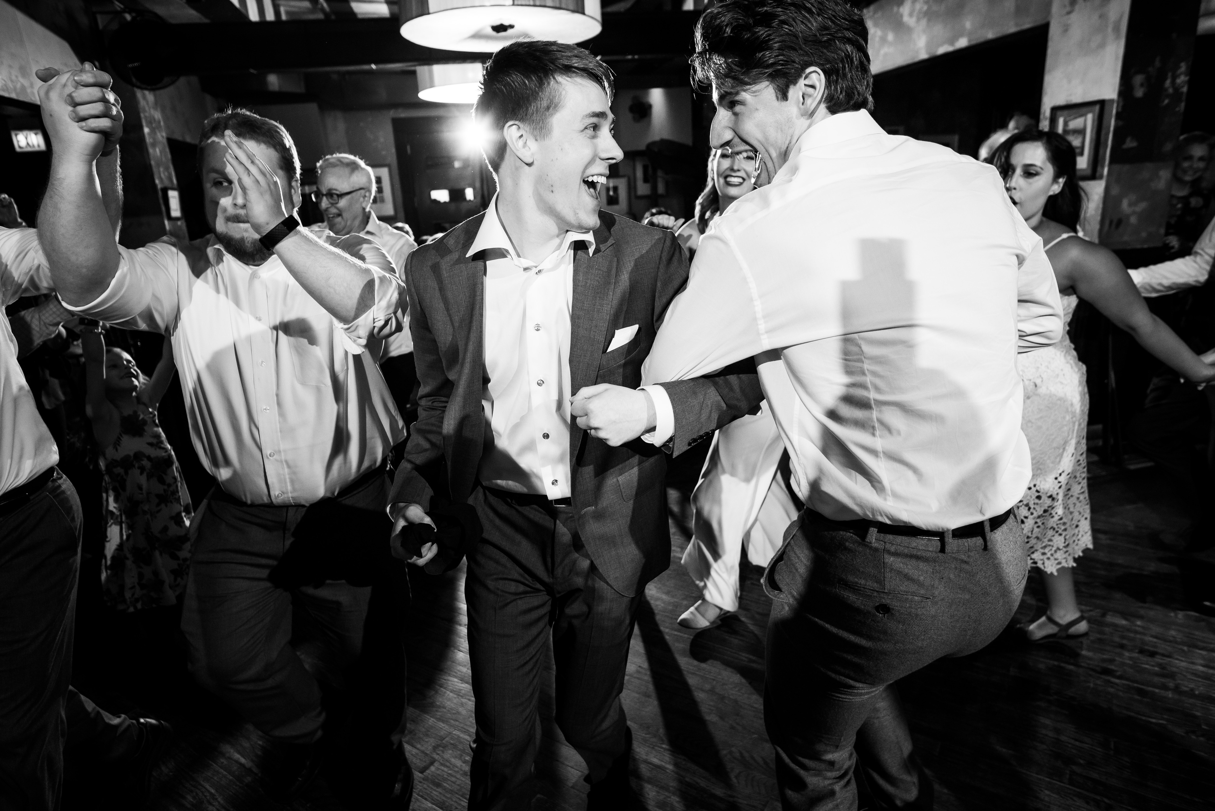 Black and white wedding dancing photos: Carnivale Chicago wedding captured by J Brown Photography
