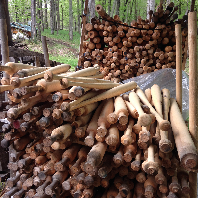 Louisville slugger bat seconds, used as kiln fuel