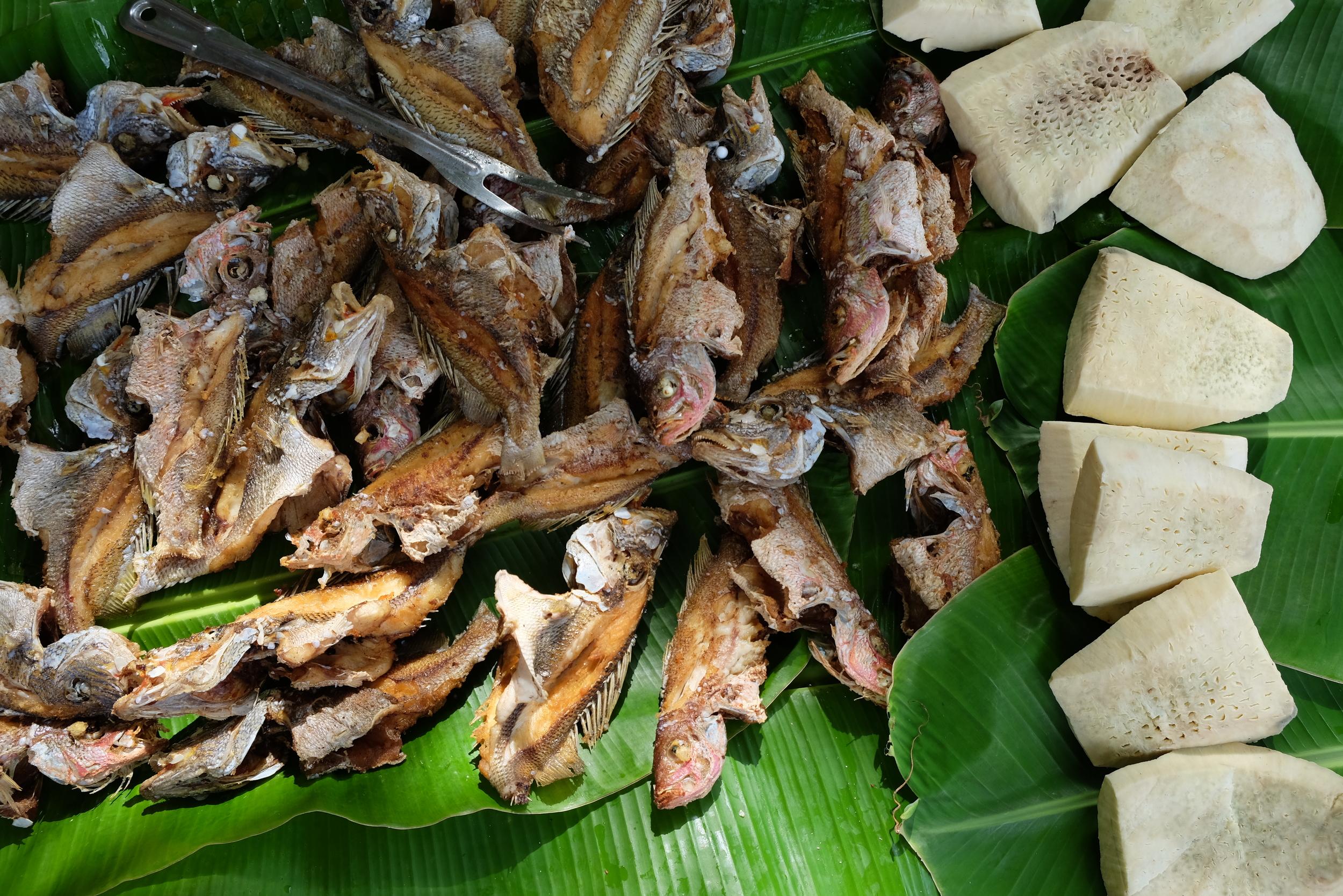 Breadfruit and fried fish prepared beachside on Little Corn Island, Nicaragua.