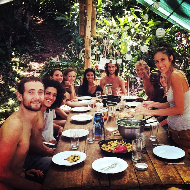 Dining at permaculture farm in costa rica