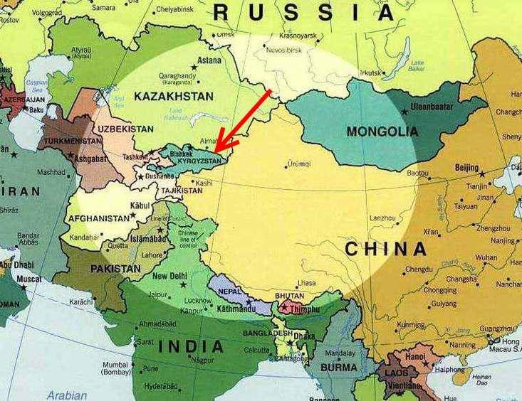 Place du Kirghizistan en Asie centrale