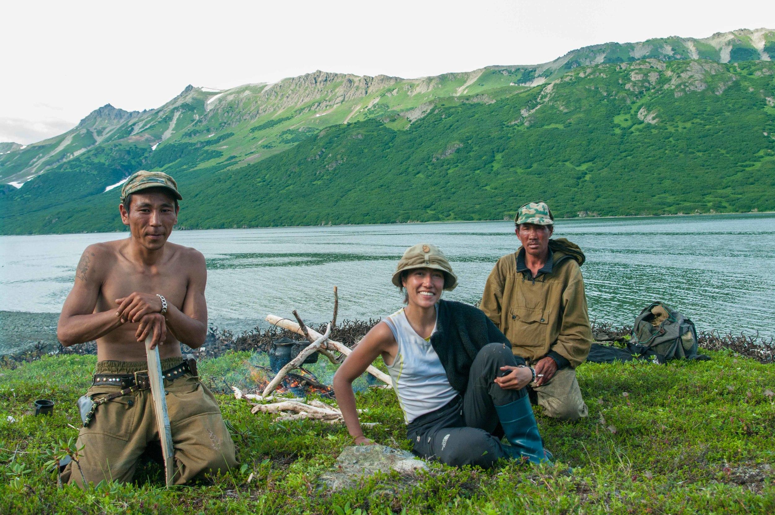Moi avec Colaï et Vanya, deux nomades Tchouktches
