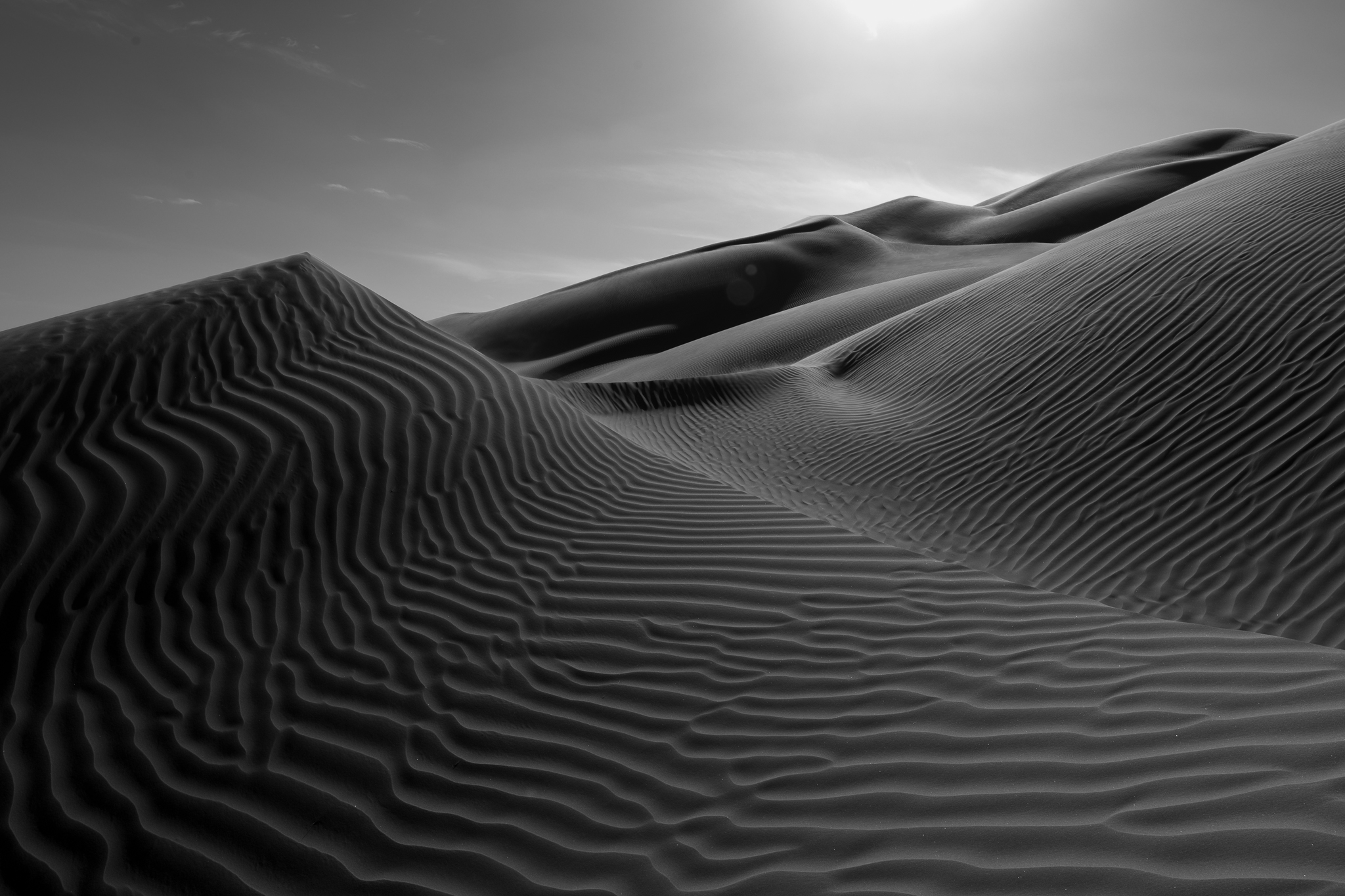 Monochrome conversion emphasizes the shape and texture of the dunes.