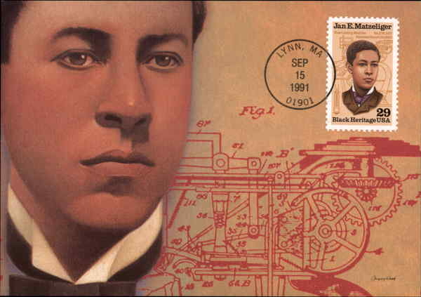 United States Postage Stamp honoring Jan Earnst Matzeliger and his invention of the lasting machine.
