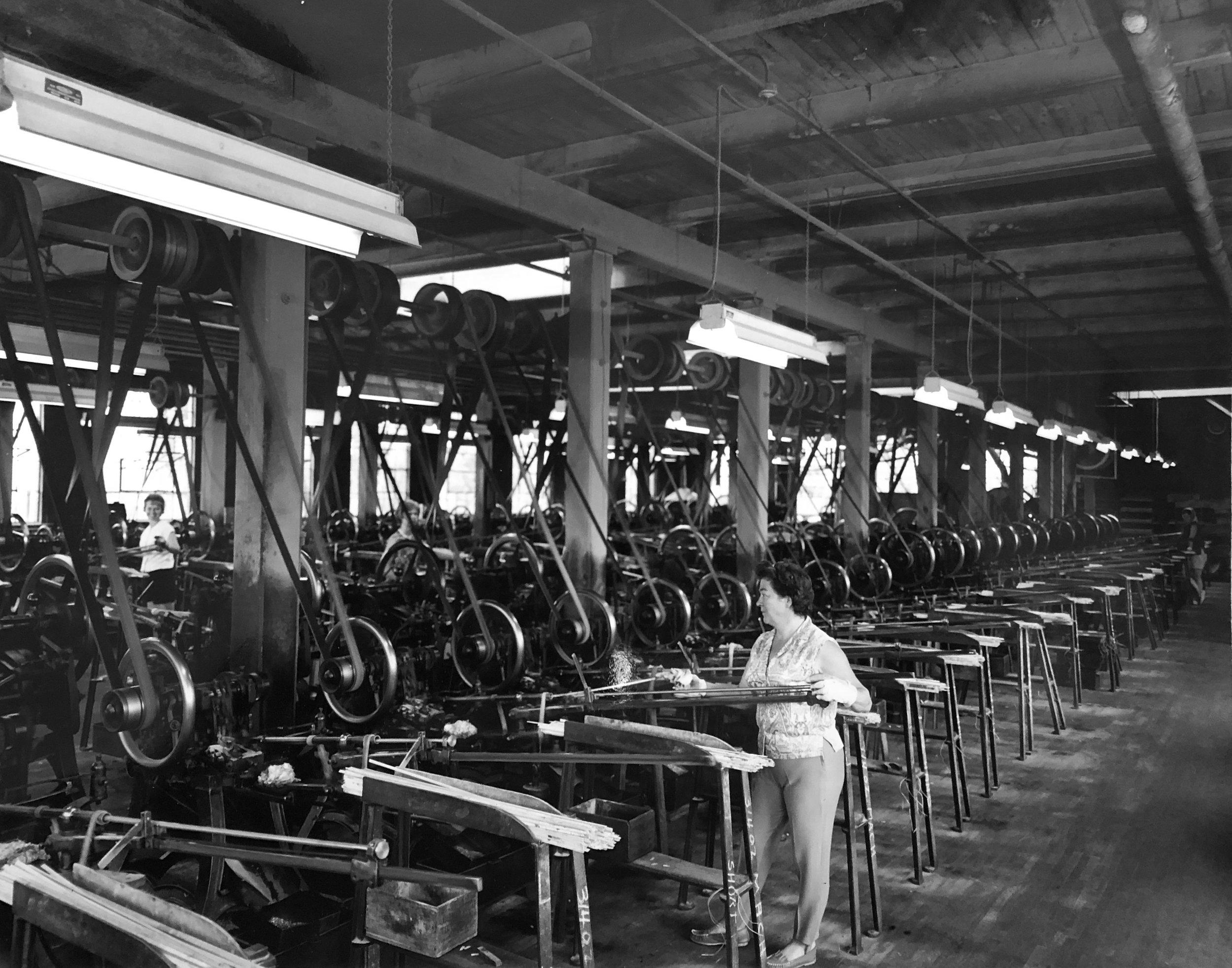 Bank of Cut Tack machines at United Shoe Canada