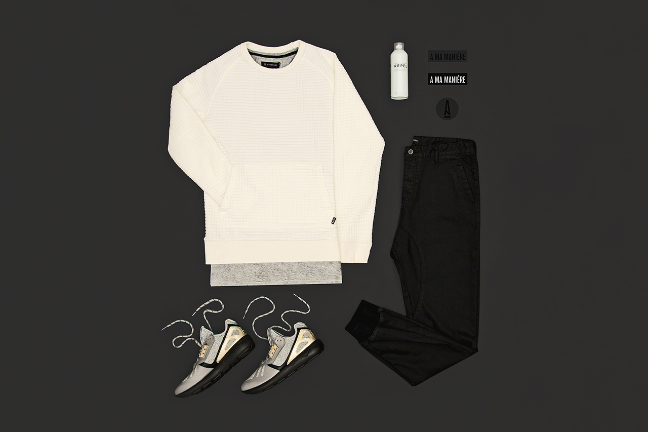Franklin Cooke (@frankcooker) came by the studio and pulled a few items from A Ma Maniere to style this outfit grid.  Zanerobe Gridlock Sweater in White ($130)  Zanerobe Flintlock Tee in Grey ($40)  Zanerobe Dynamo Denim in Black ($160)  Adidas Tubular Runner in Grey/Black ($120)  Jason Markk Repel ($17)  A Ma Maniere Stickers (free)  Photography: Mae Elizabeth Gurene