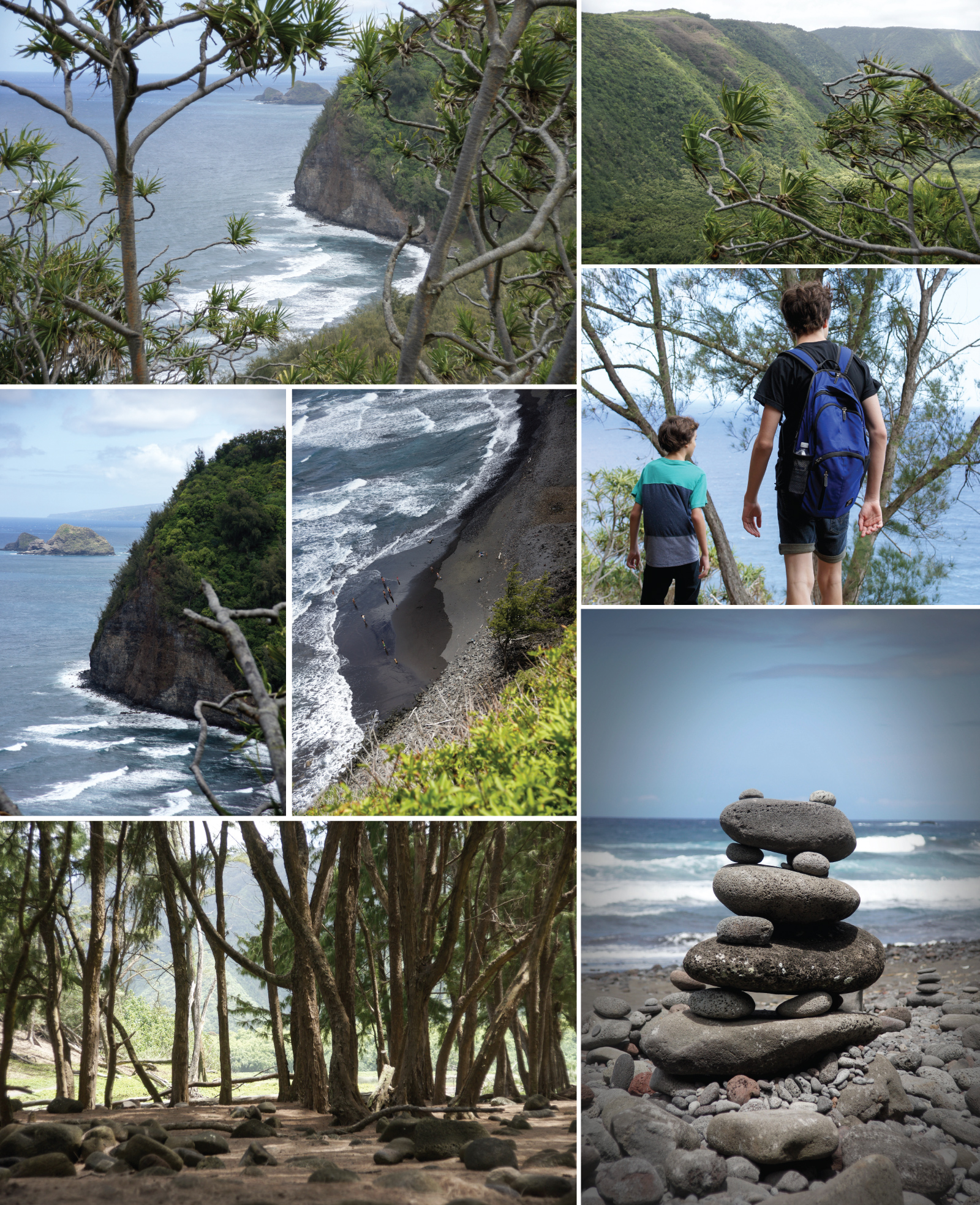 A hike down the cliff to the black sand beach of Pololu Valley.