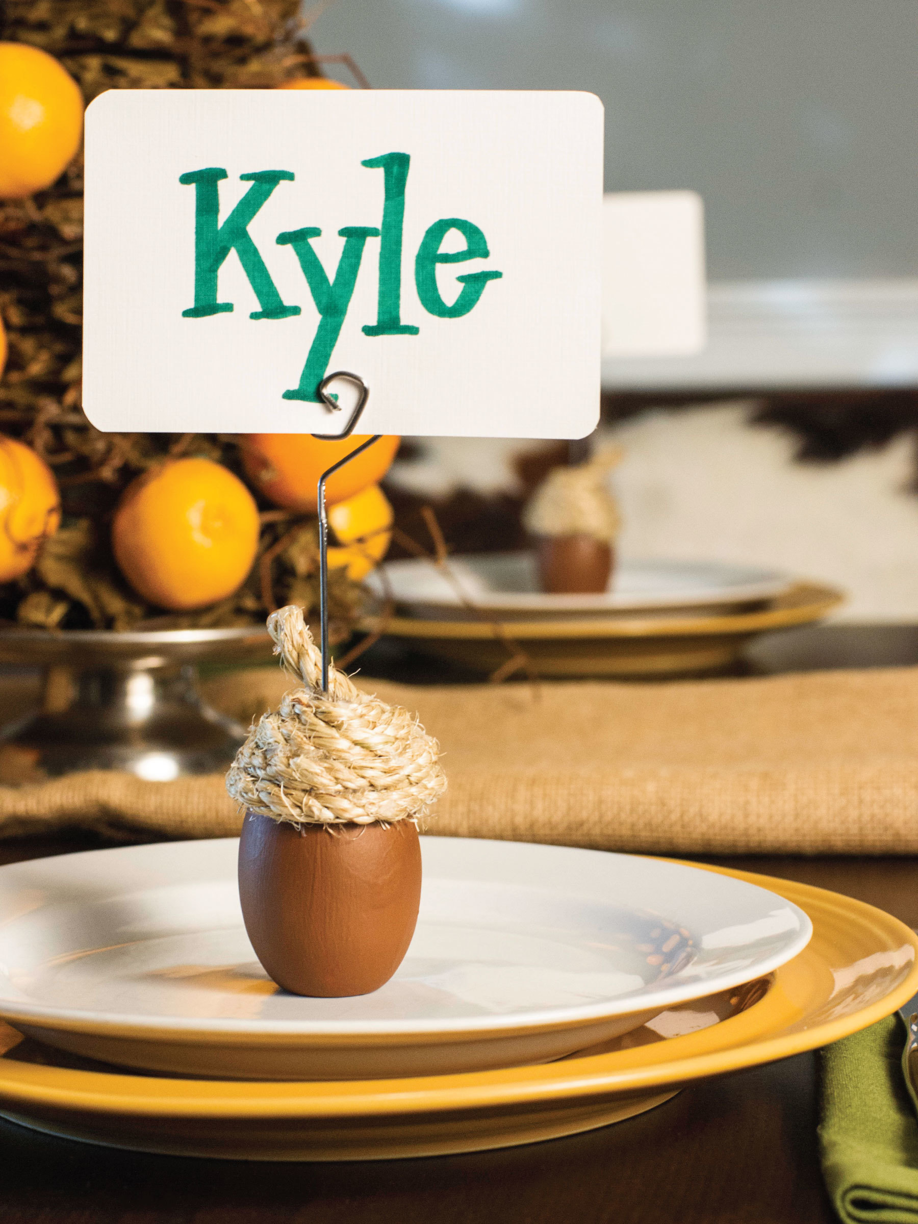 Acorn place card holders by Sam Henderson of Today's Nest for HGTV Gardens.