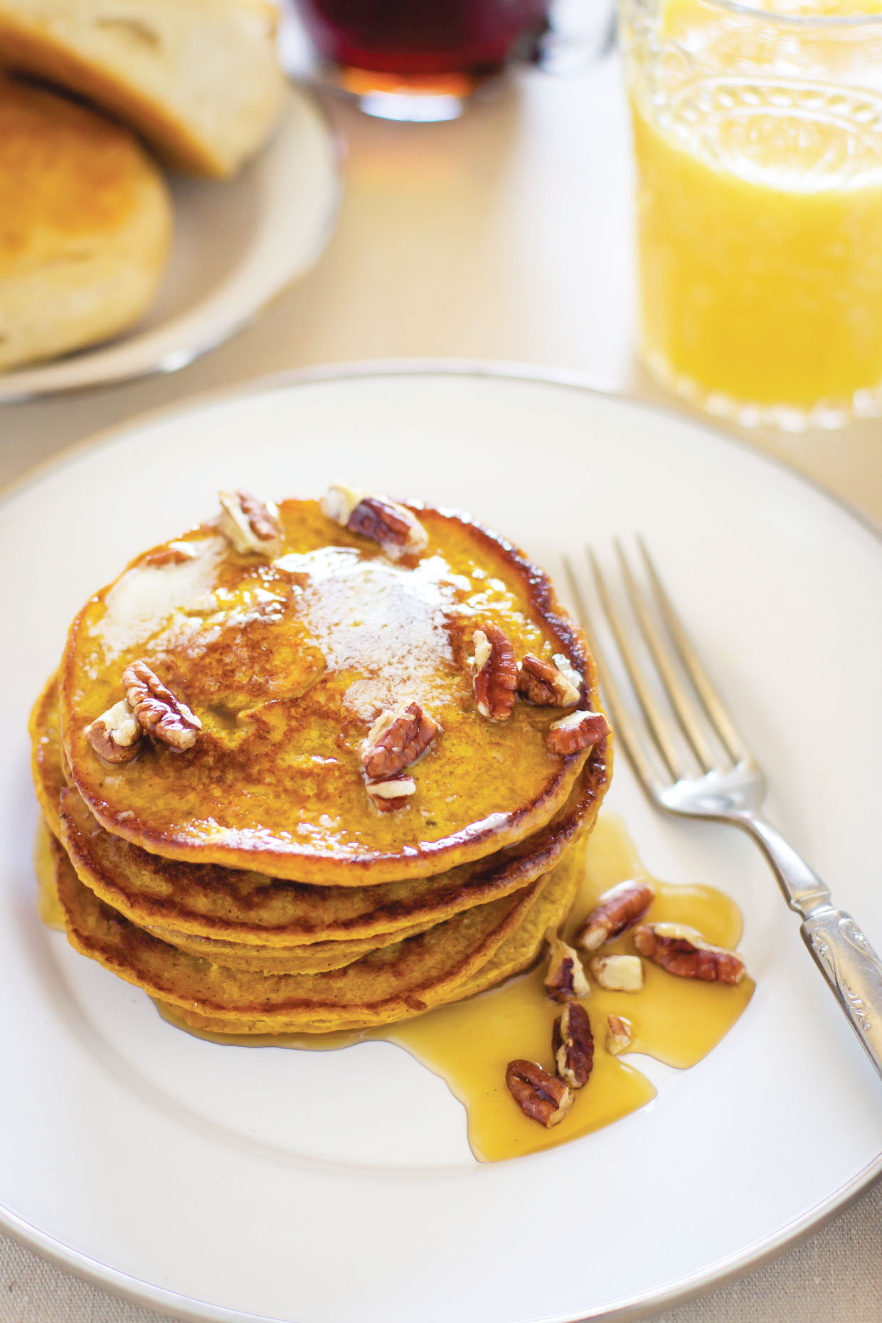 Pumpkin Spice Pancakes by Sam Henderson of Today's Nest.