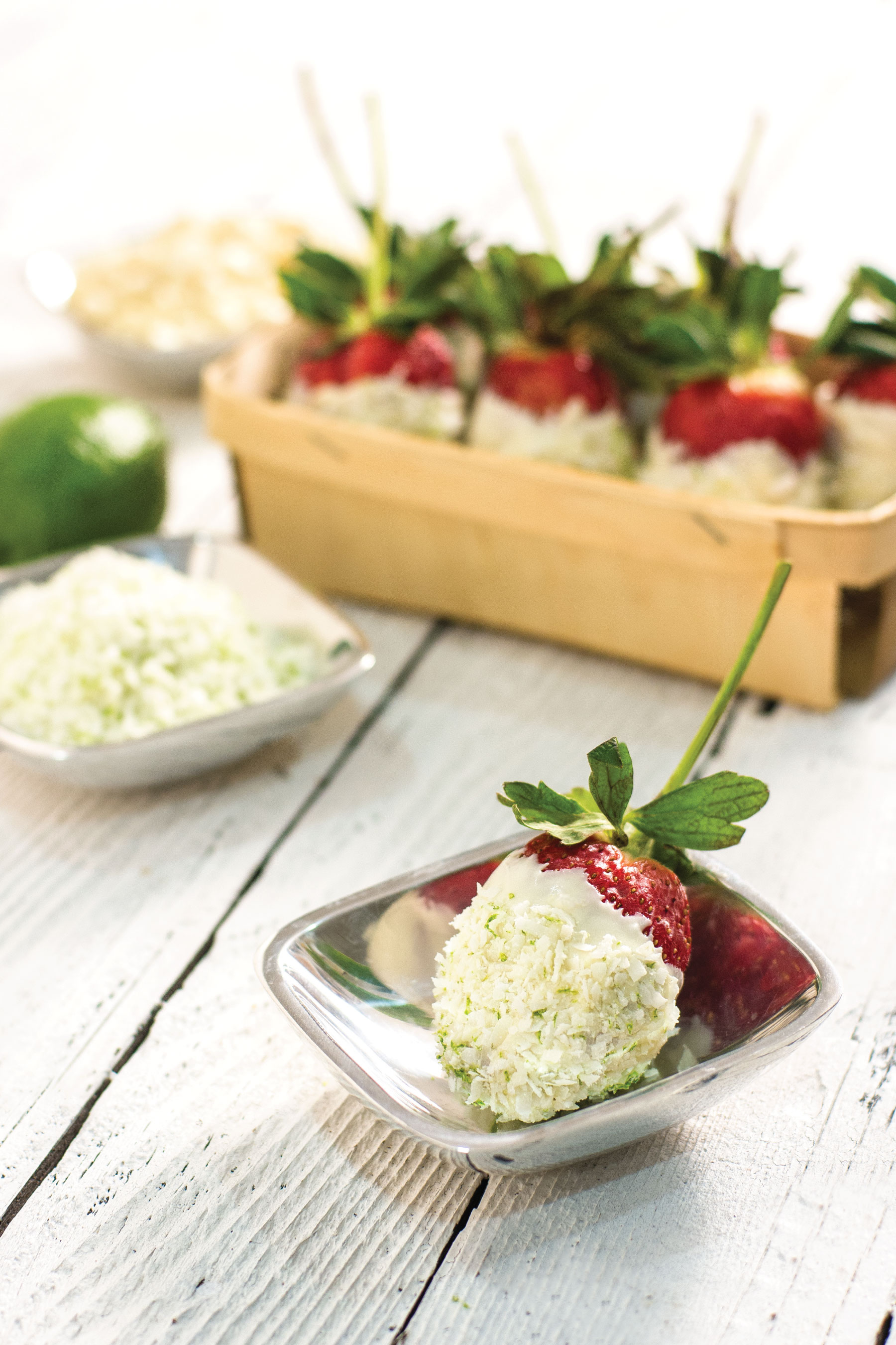 White Chocolate with Coconut and Lime Dipped Strawberries by Sam Henderson for California Giant Berry Farms
