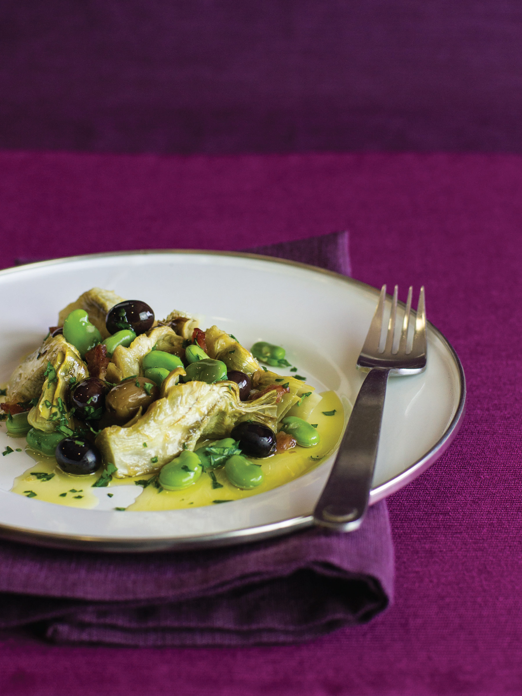 Roasted Artichokes with Fava Beans and Olives by Sam Henderson of Today's Nest for HGTVGardens