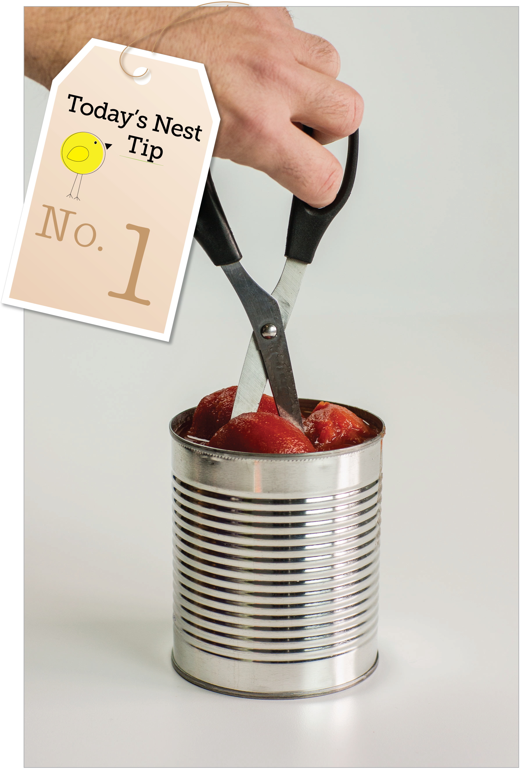 Today's Nest Kitchen Tip: Forget the cutting board. Cut whole tomatoes in the can with kitchen scissors.