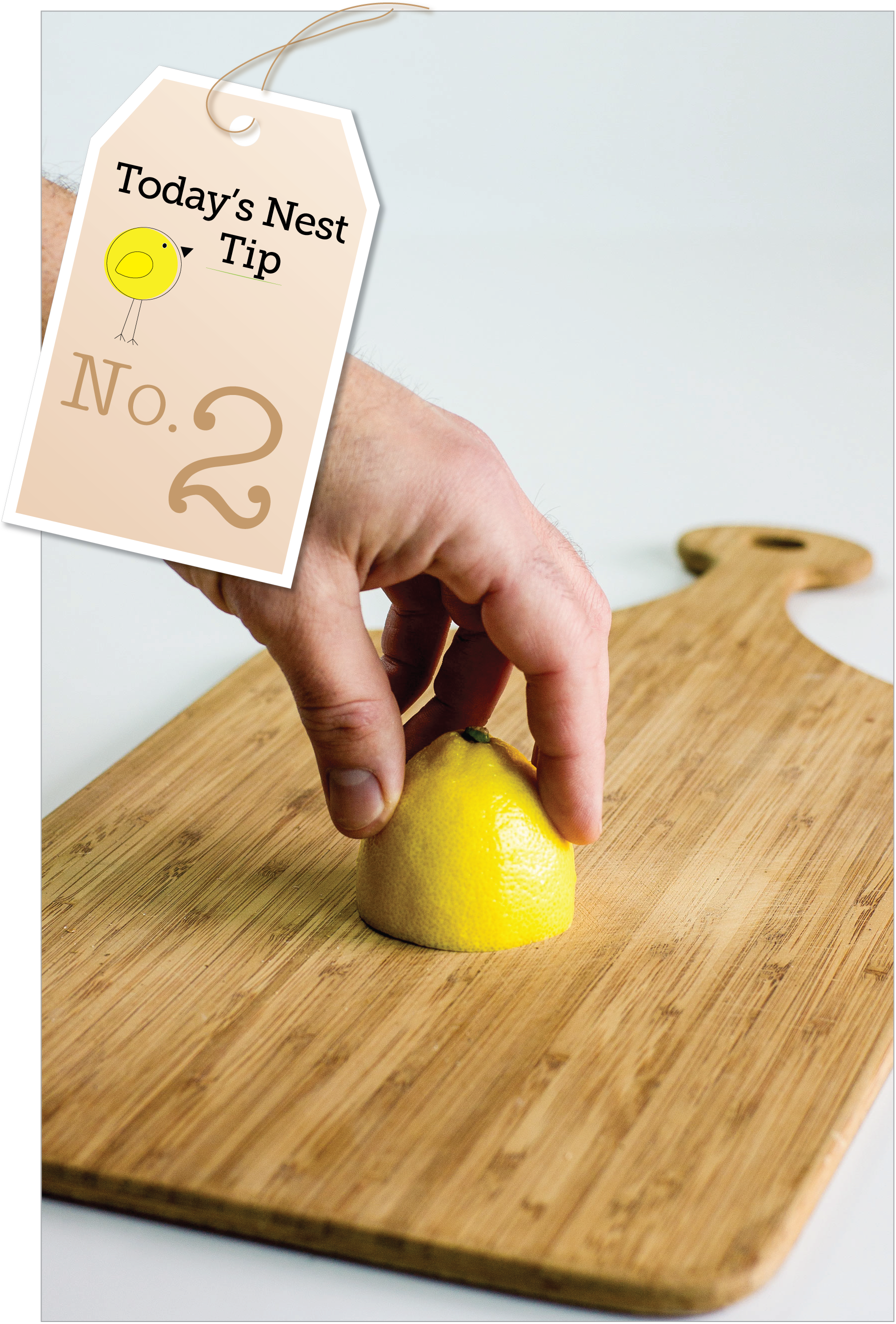 Today's Nest Kitchen Tip: Obliterate odors on your cutting board by rubbing it with lemon.