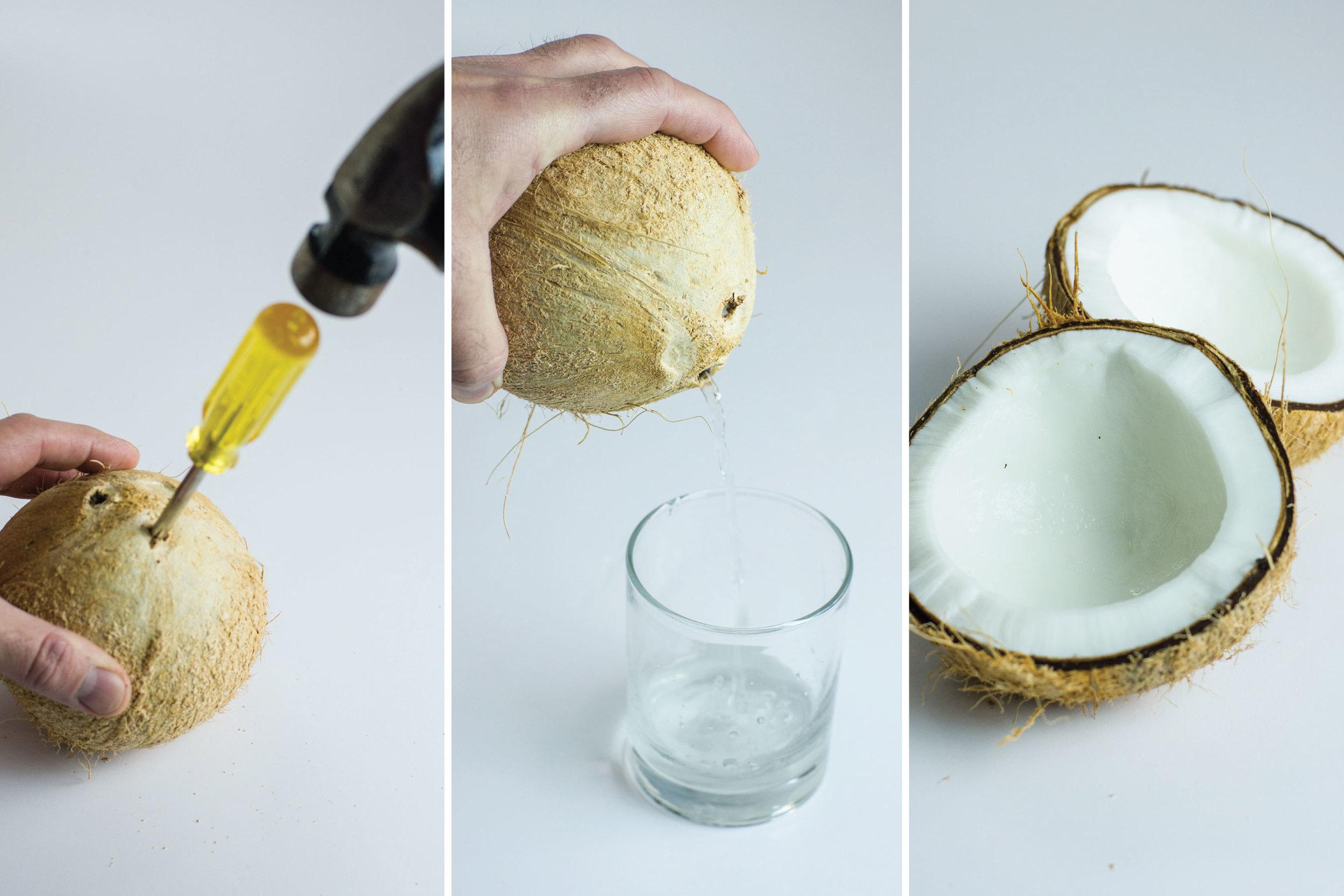 Preparing the fresh coconut