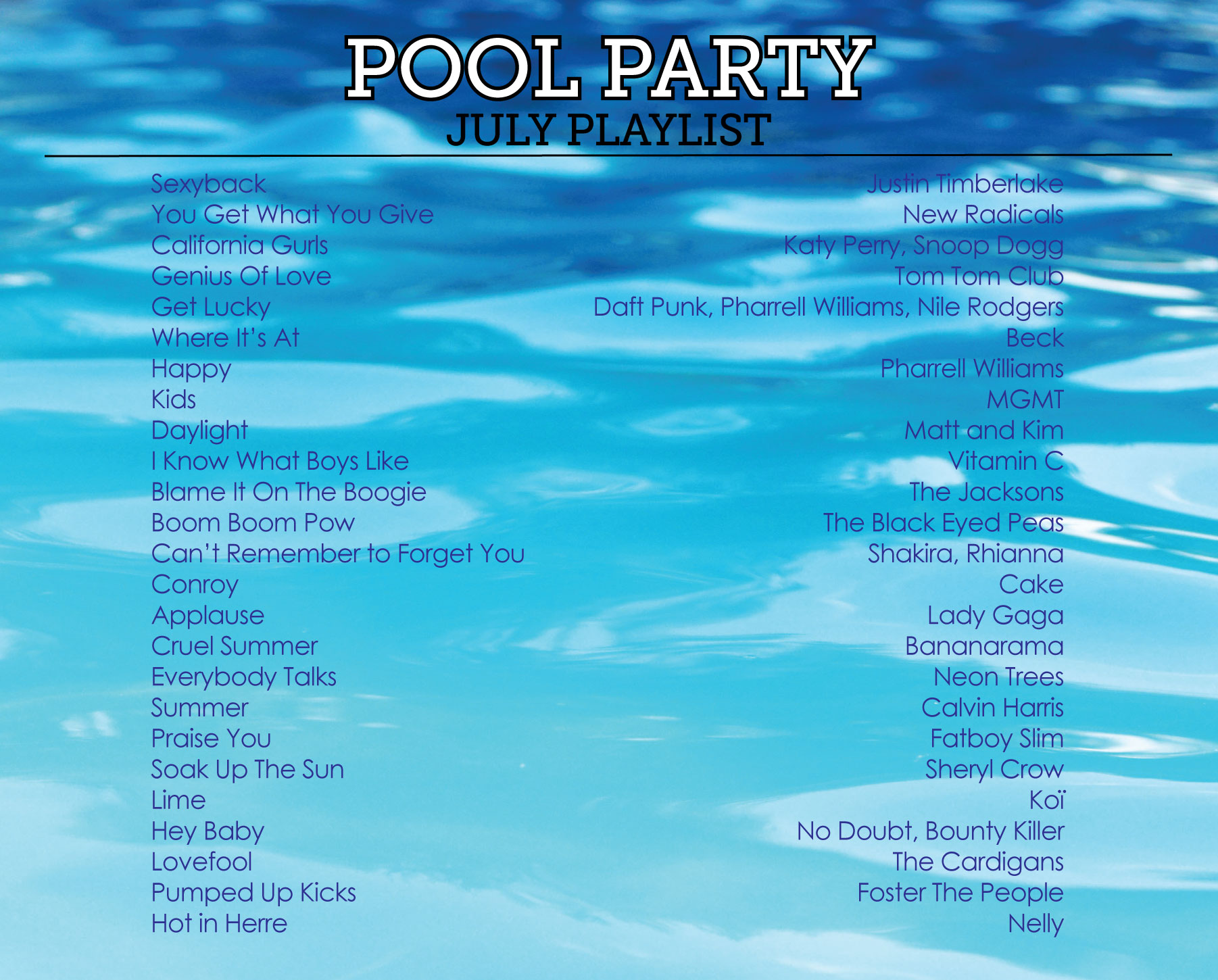 Pool Party Playlist by Sam Henderson of Today's Nest