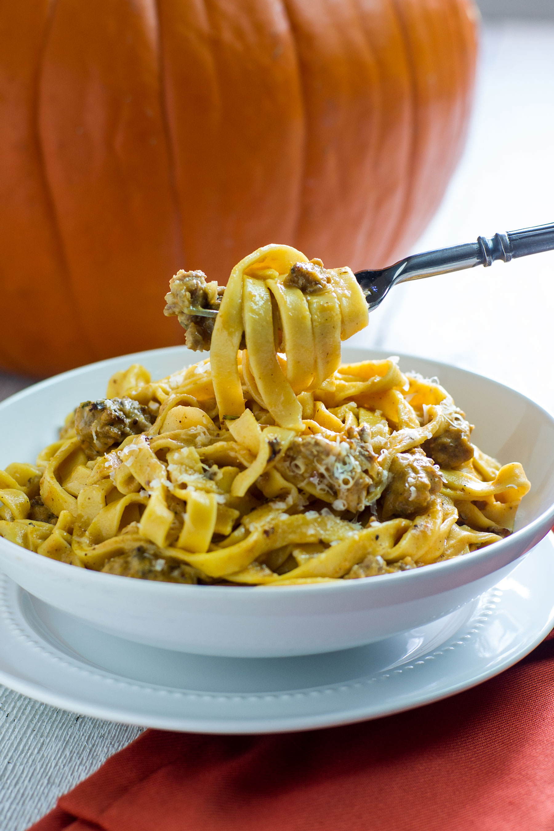 Pumpkin Fettuccine with Sausage and Sage by Sam Henderson of Today's Nest